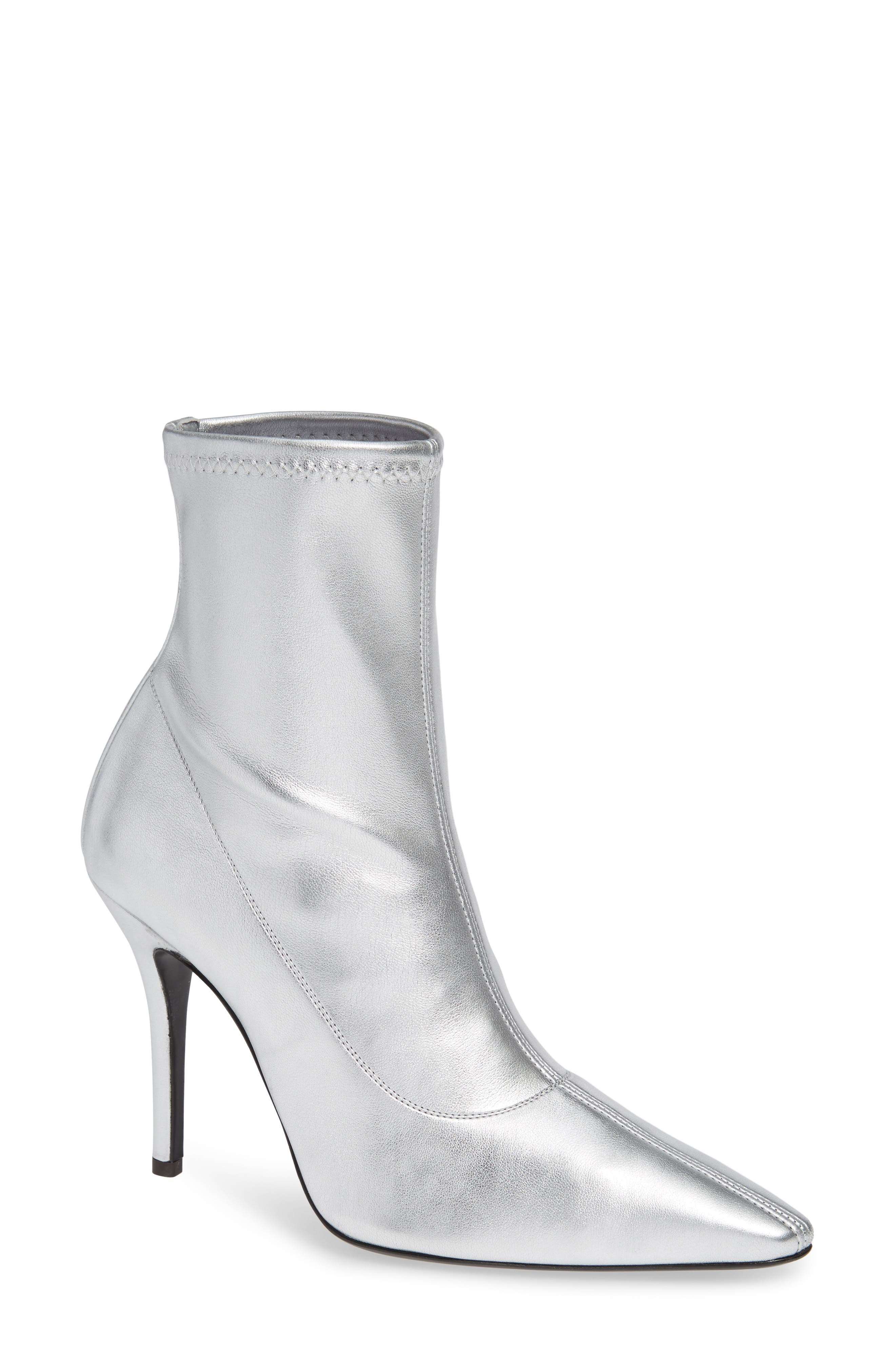 Metallic Stretch-Leather Booties in Silver