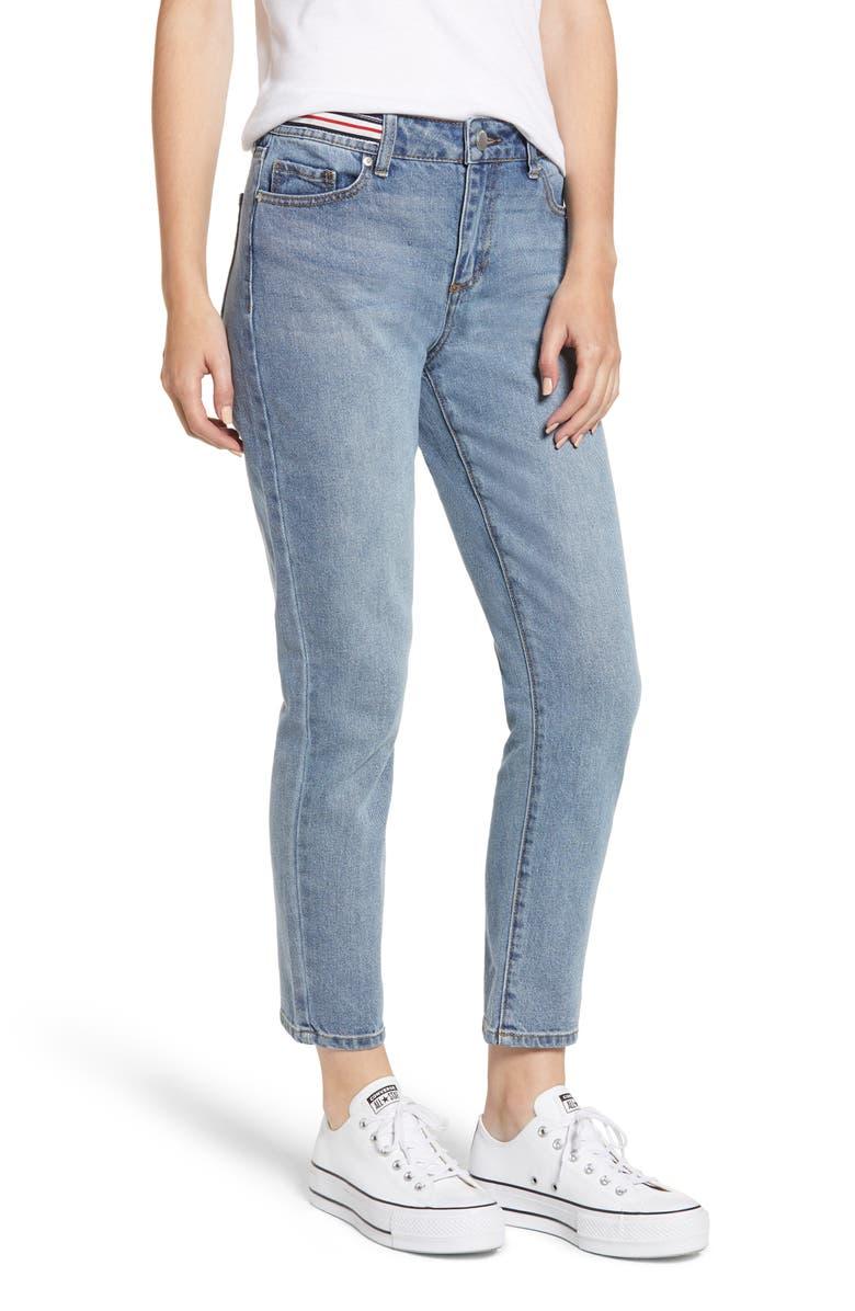 Stripe Waist Straight Leg Jeans