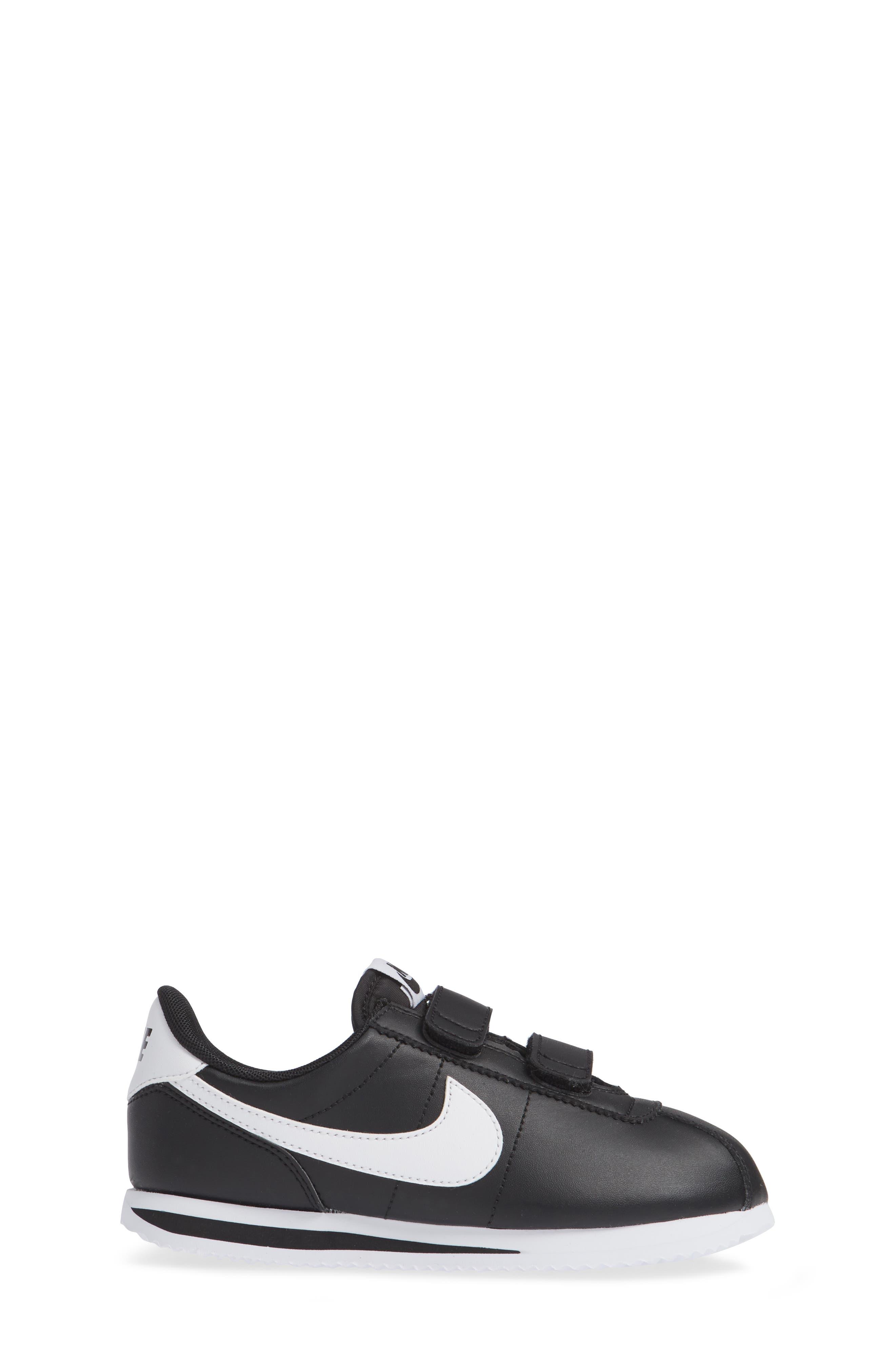 Cortez Basic SL Sneaker,                             Alternate thumbnail 4, color,                             Black/ White