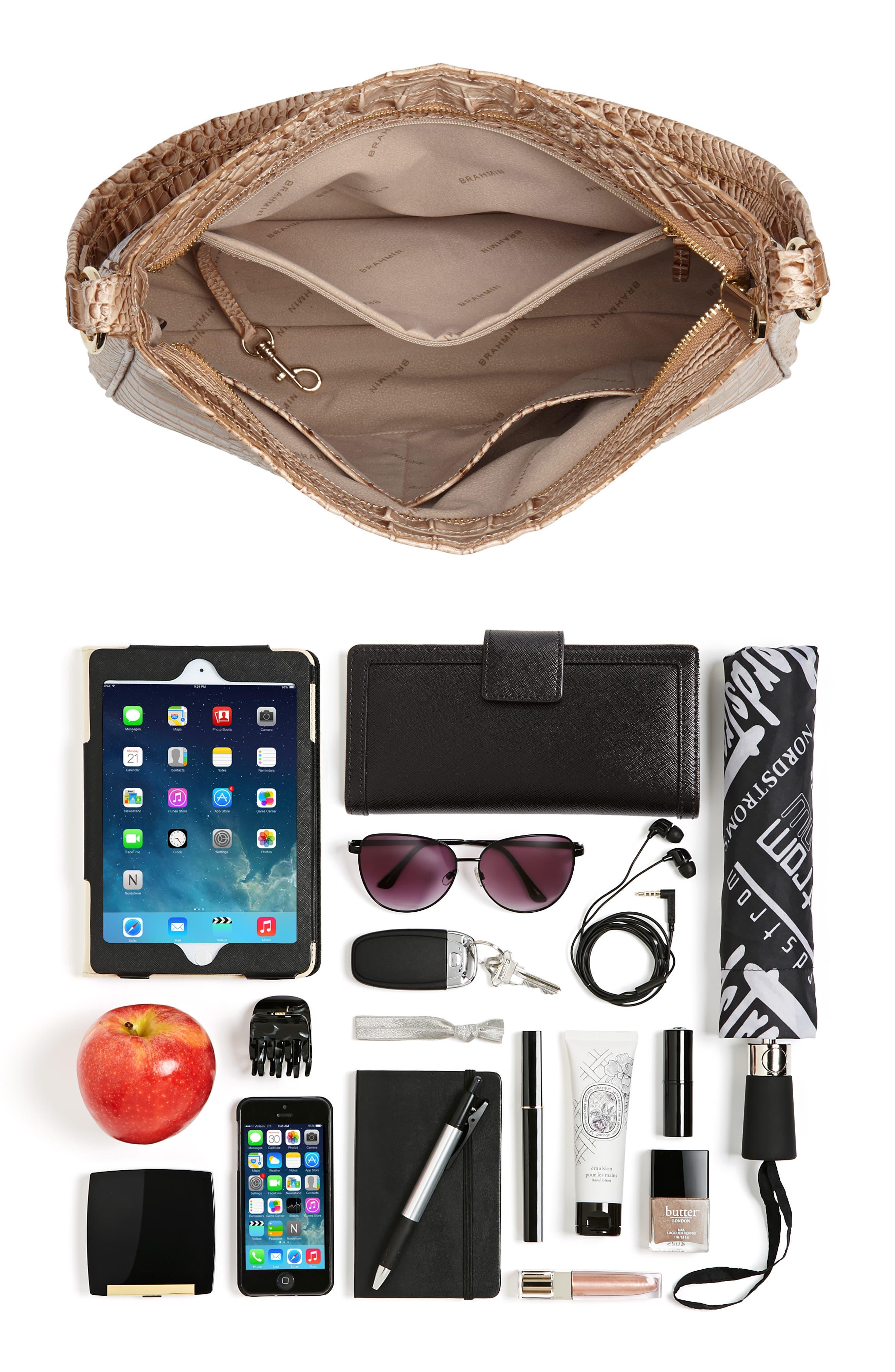 Nadia Croc Embossed Leather Shoulder Bag,                             Alternate thumbnail 7, color,