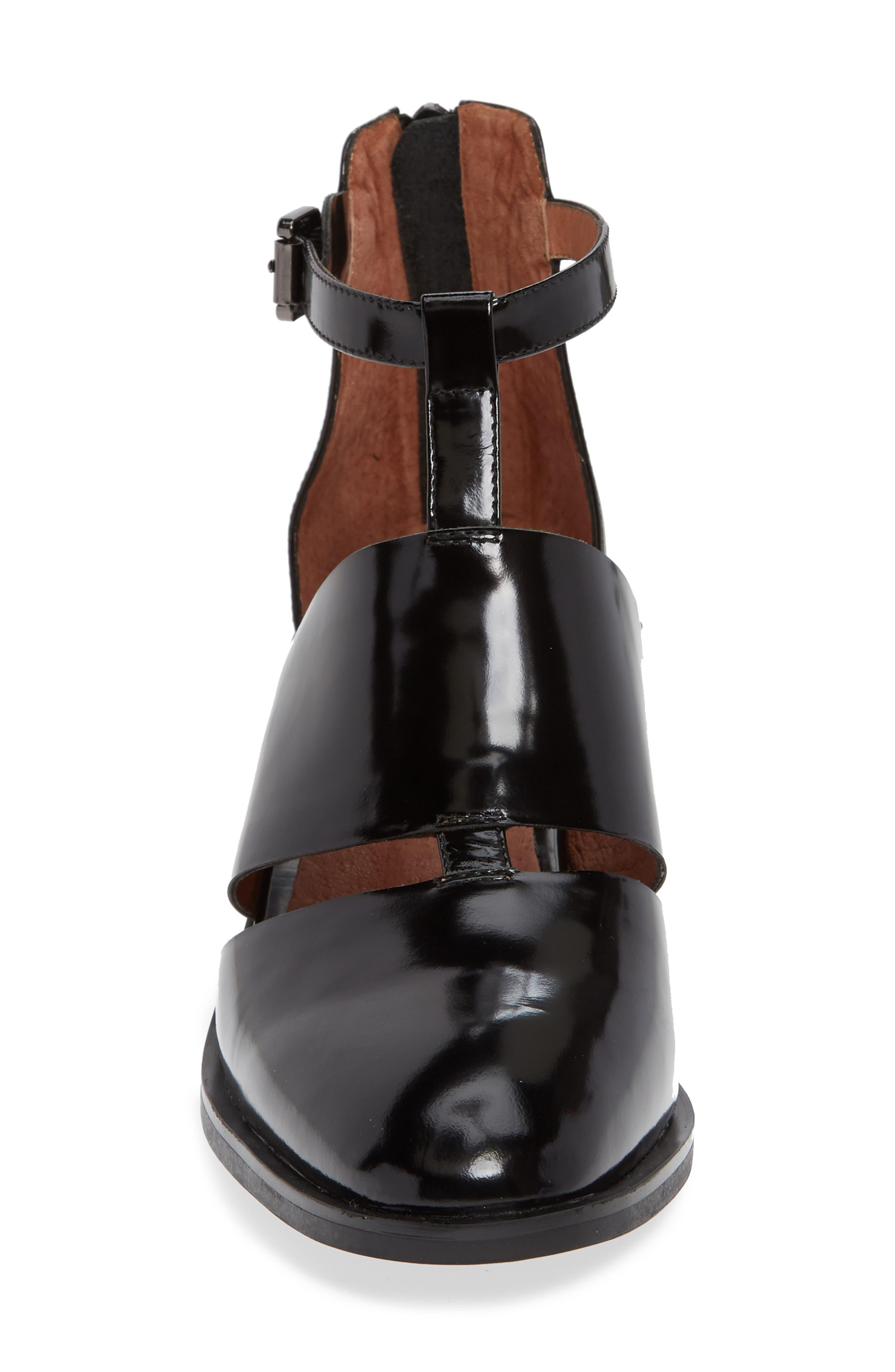 'Melina' T-Strap Shoe,                             Alternate thumbnail 6, color,                             Black Leather