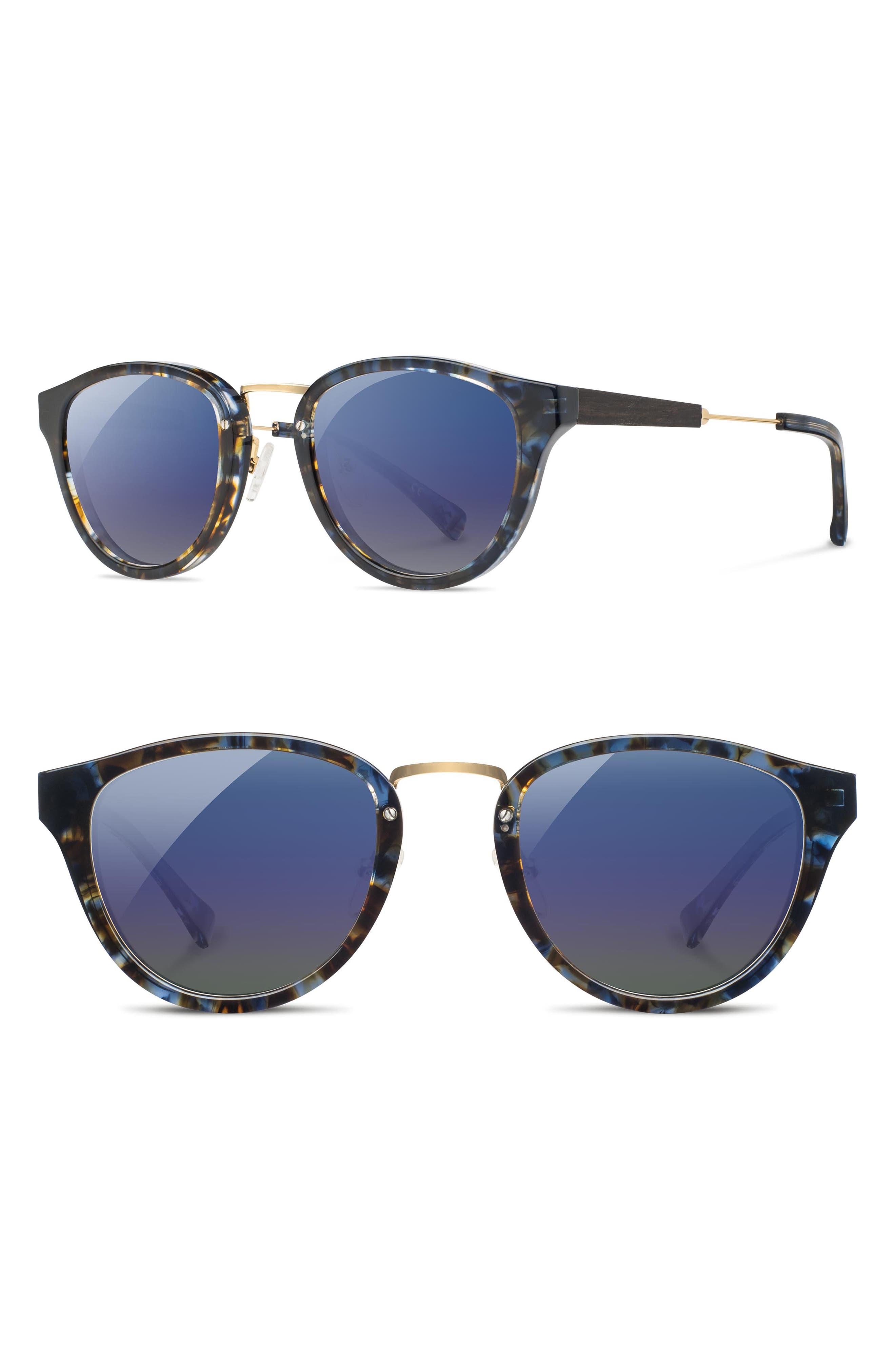 SHWOOD 'Ainsworth' 49Mm Polarized Sunglasses - Blue Nebula/ Gold/ Blue Flash