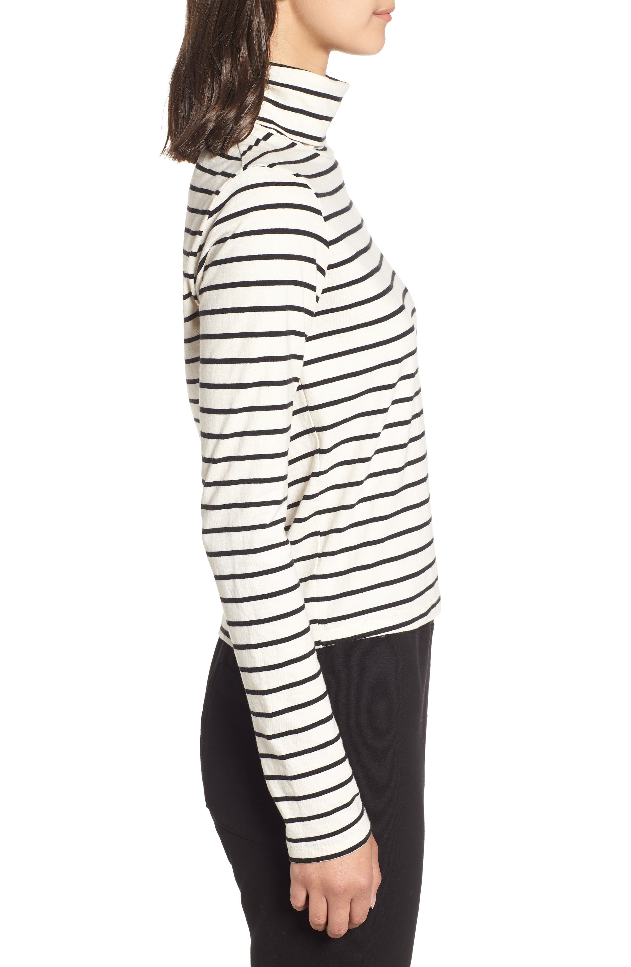 Stripe Mock Neck Sweater,                             Alternate thumbnail 5, color,                             Black/ Cream