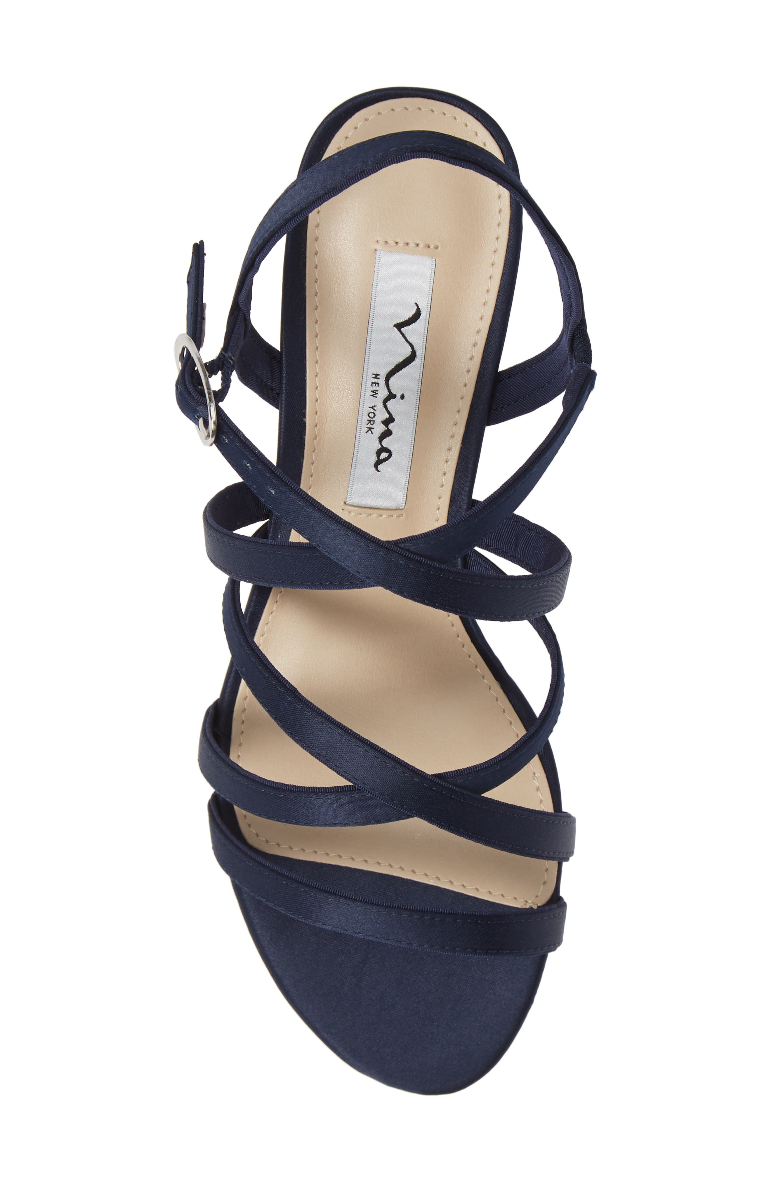 Genaya Strappy Evening Sandal,                             Alternate thumbnail 4, color,                             Navy Satin