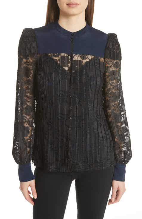 See by Chloé Contrast Detail Silk Lace Blouse c1ce06ea3