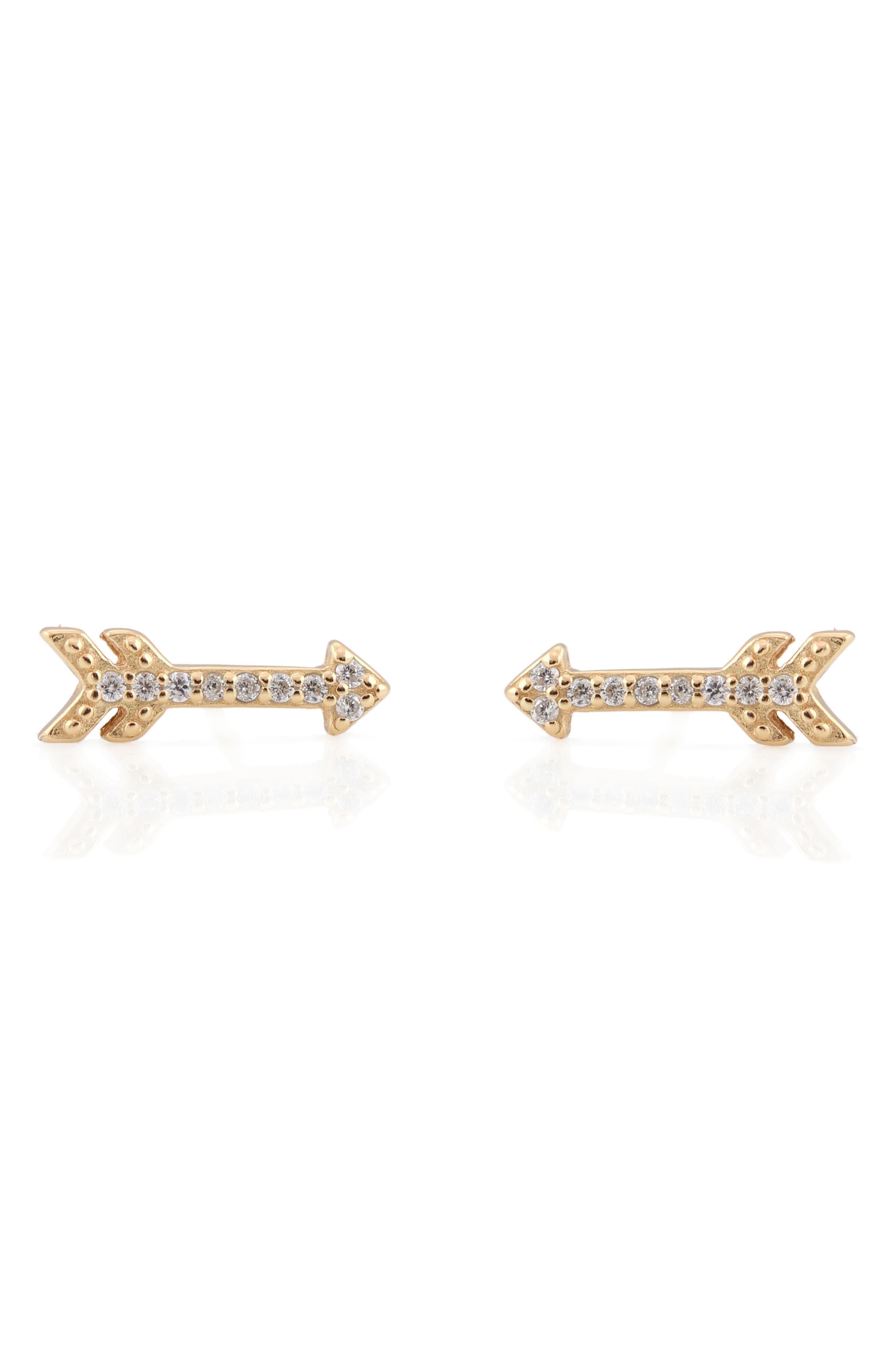 Pavé Arrow Stud Earrings,                             Main thumbnail 1, color,                             Gold