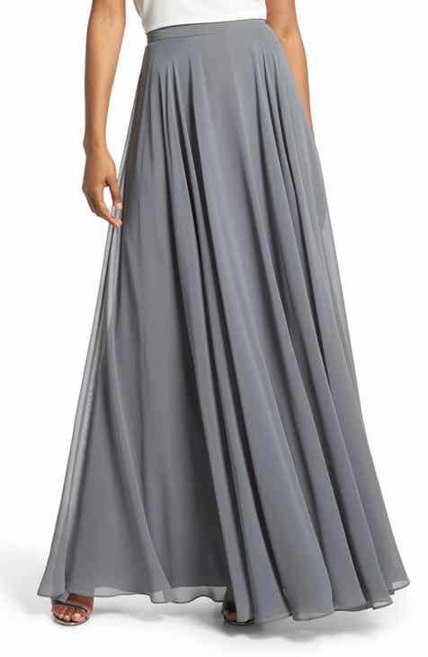 282672c5db Jenny Yoo Hampton Long A-Line Chiffon Skirt