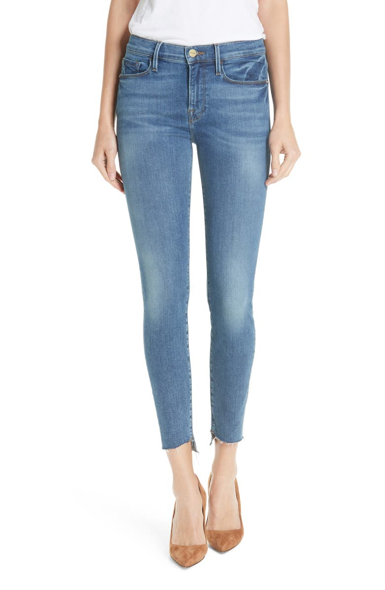 Le Skinny de Jeanne Reverse Cascade Hem Jeans