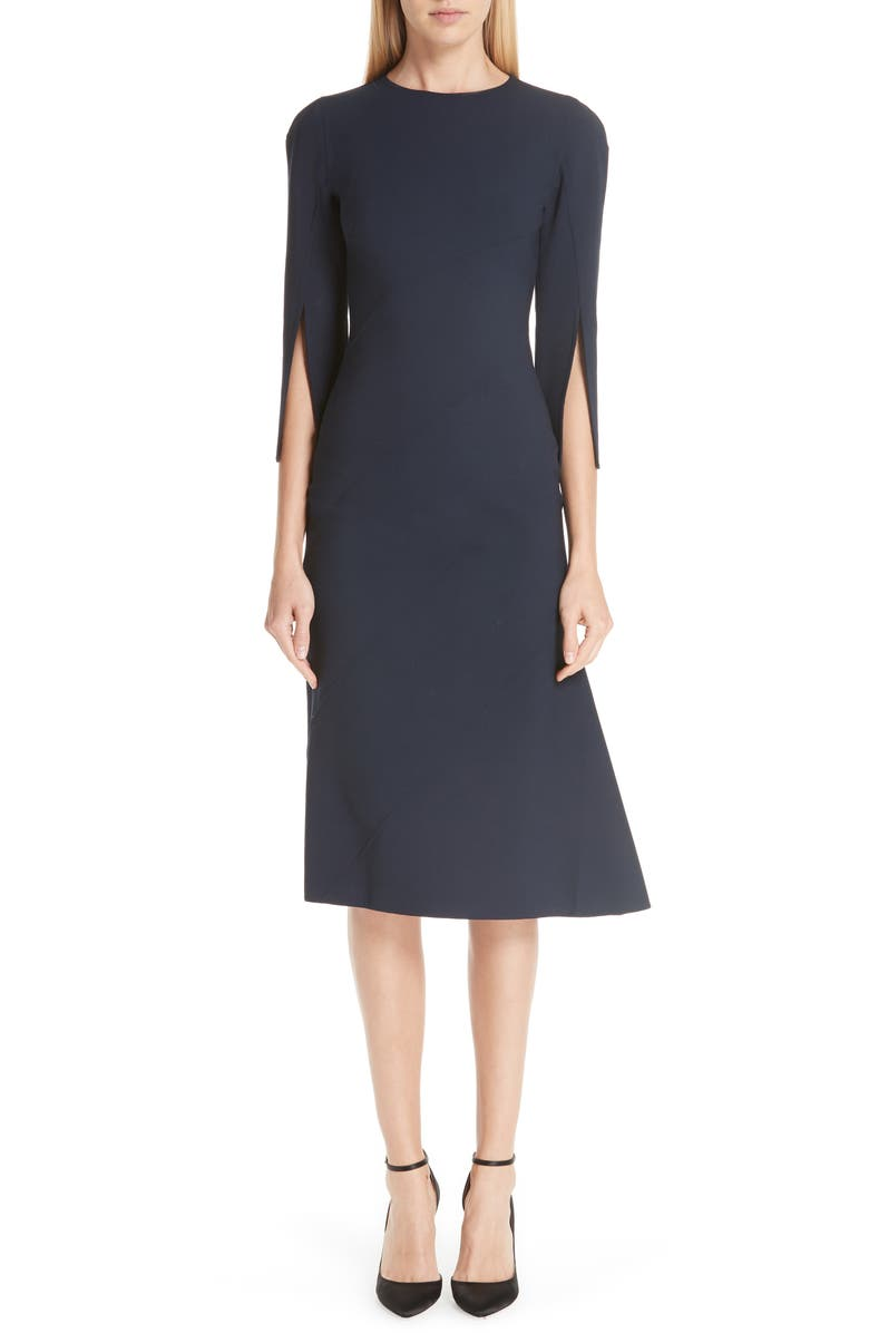 Split Sleeve Stretch Wool Dress