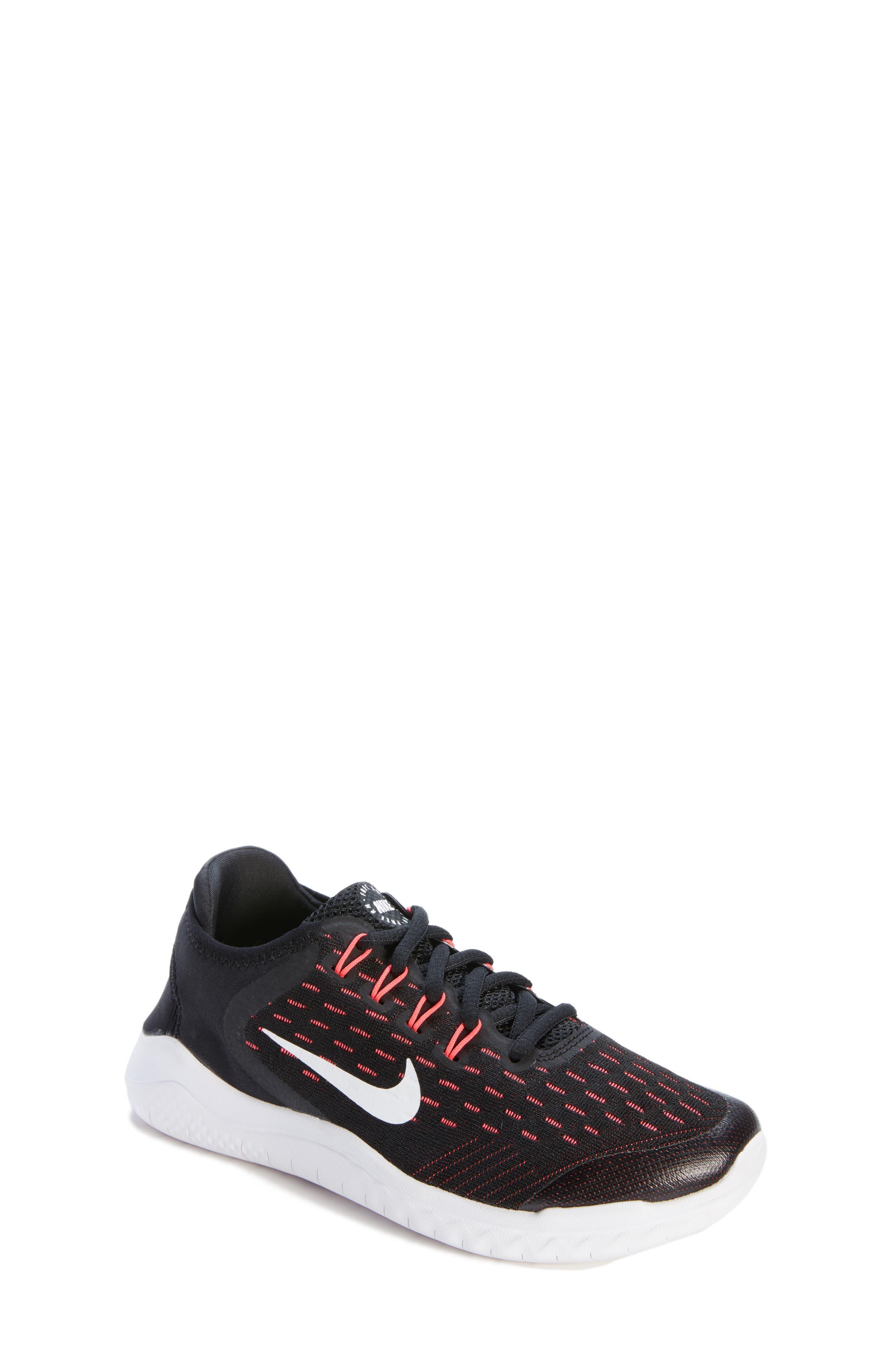 Free RN 2018 Running Shoe,                         Main,                         color, Black/ White/ Pink/ Volt