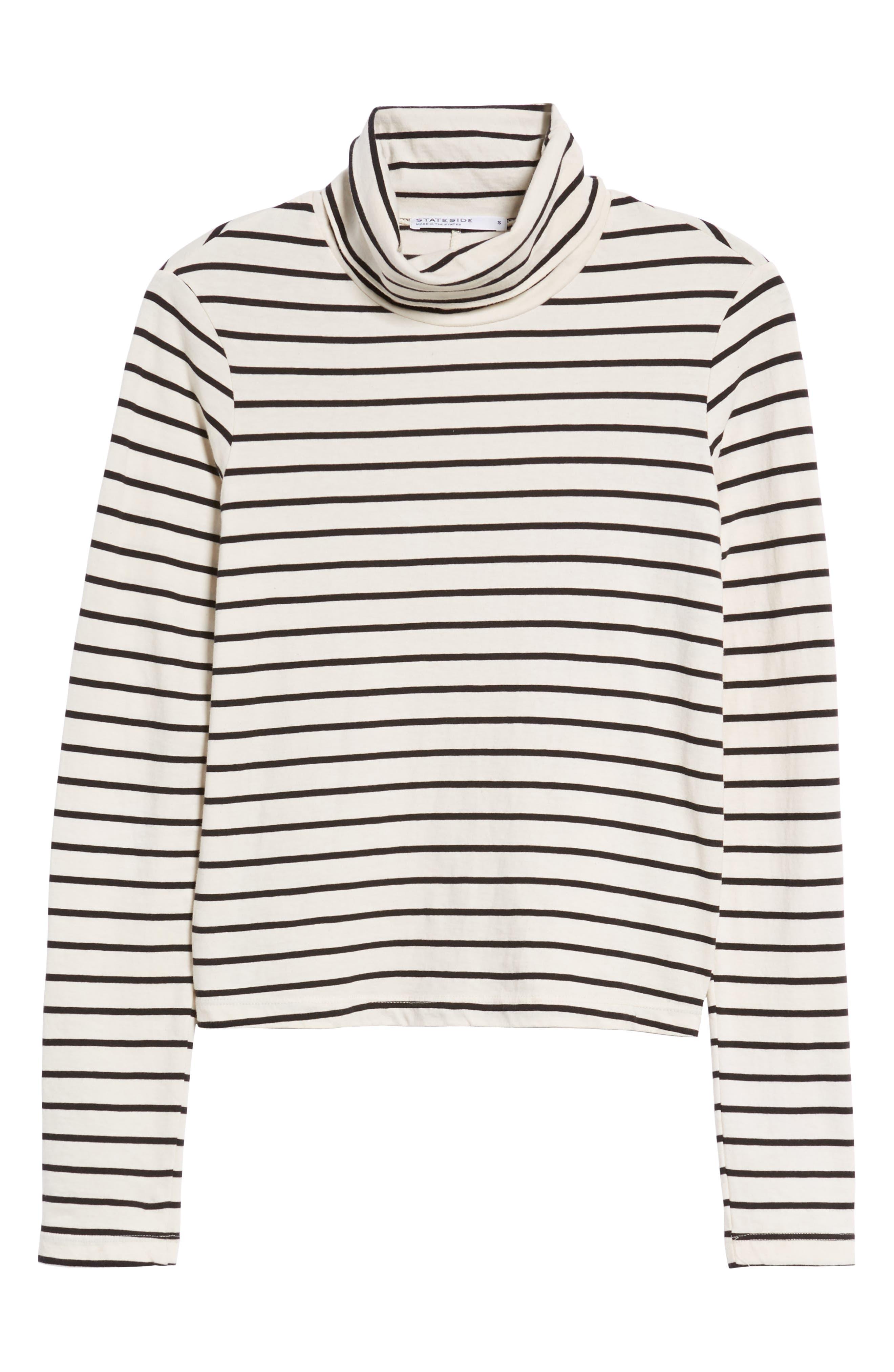Stripe Mock Neck Sweater,                             Alternate thumbnail 6, color,                             Black/ Cream