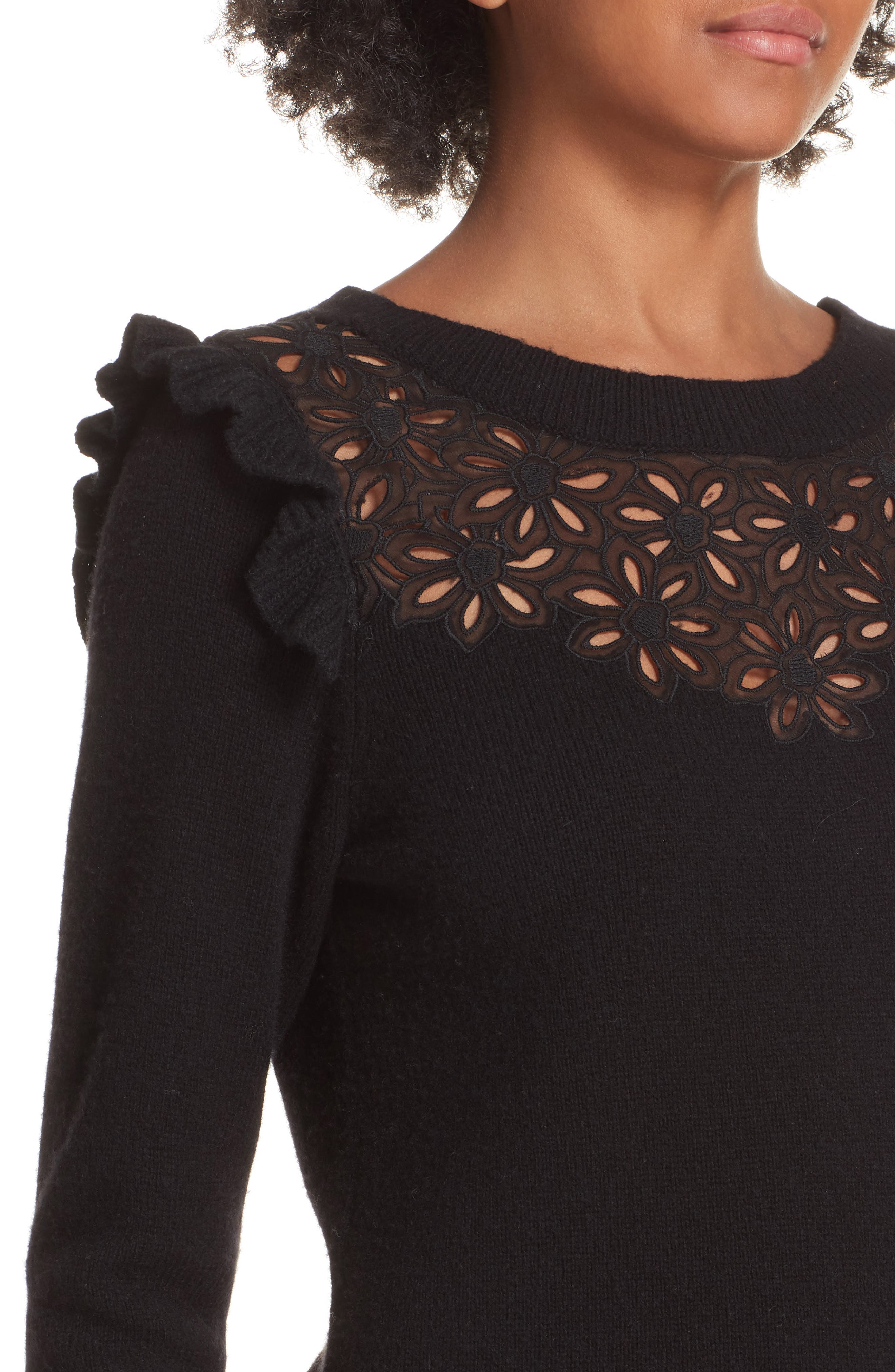 Emilie Embroidered Sweater,                             Alternate thumbnail 5, color,                             Black