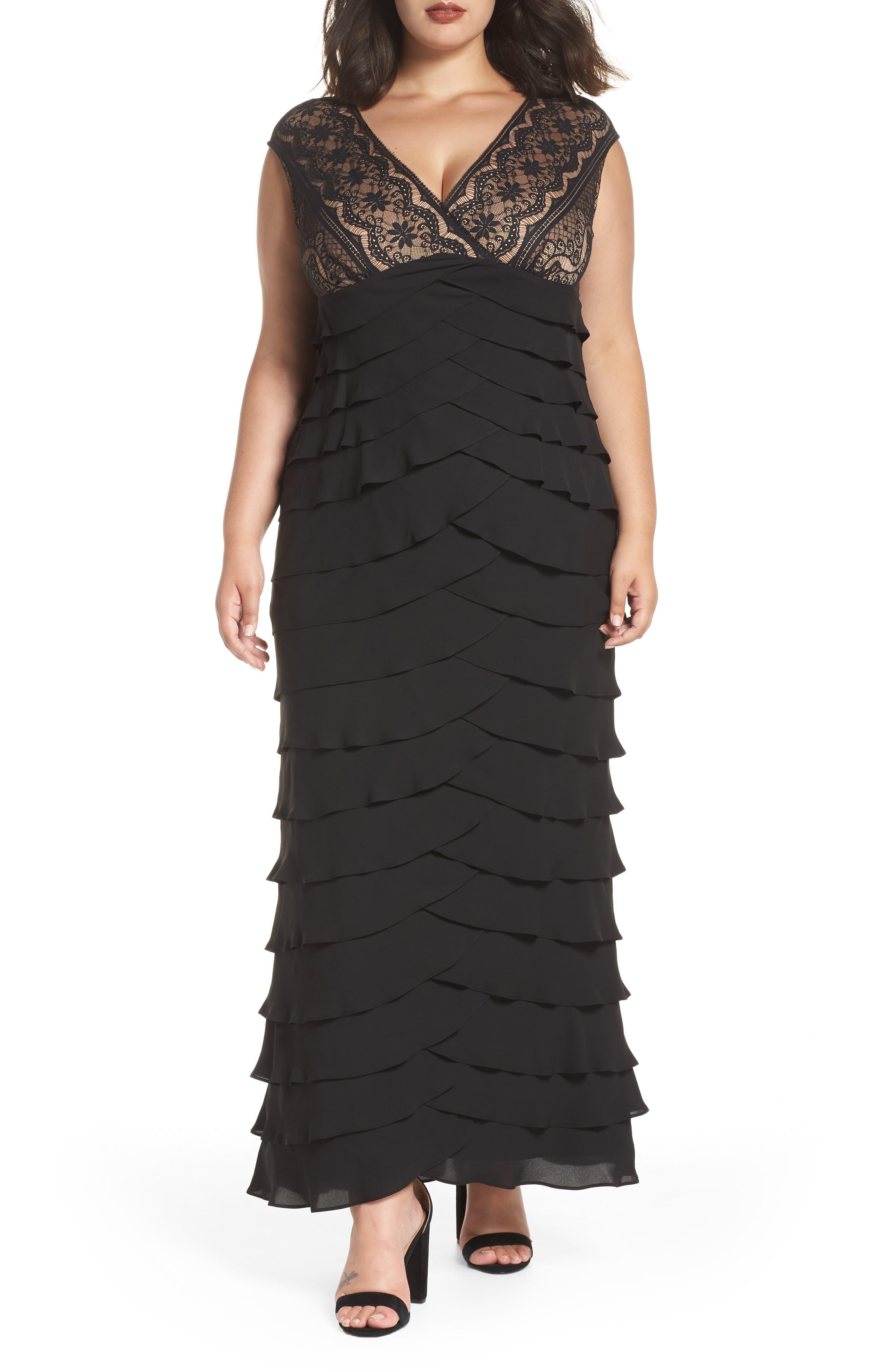 Lace & Shutter Pleat Gown,                         Main,                         color, Black