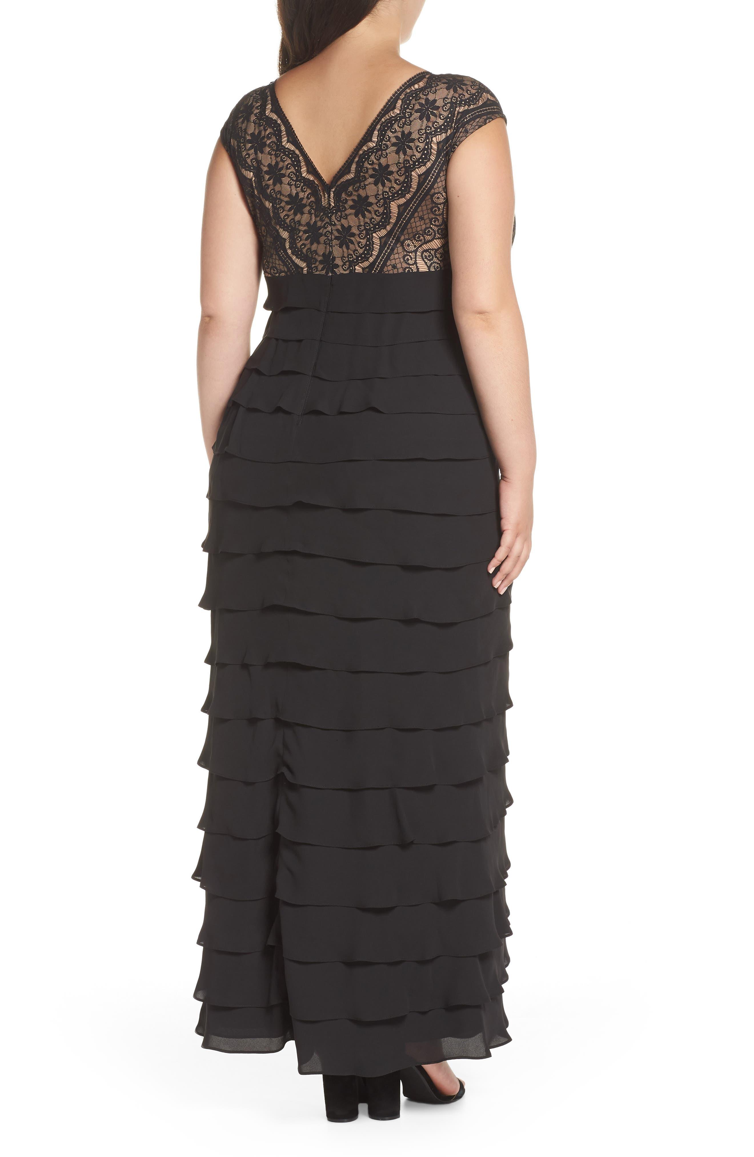 Lace & Shutter Pleat Gown,                             Alternate thumbnail 2, color,                             Black