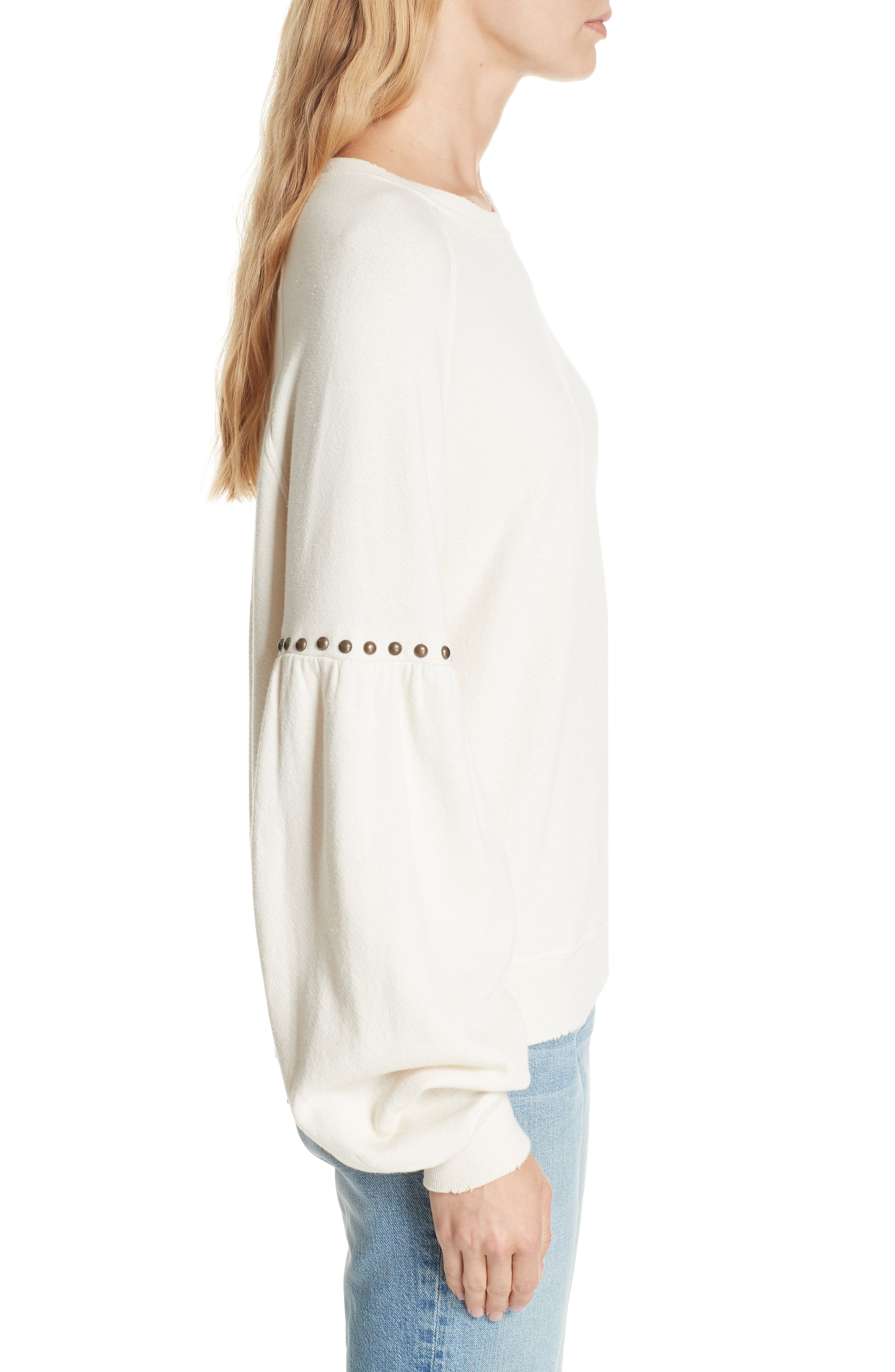 The Bishop Sleeve Studded Sweatshirt,                             Alternate thumbnail 3, color,                             Washed White W/ Studs