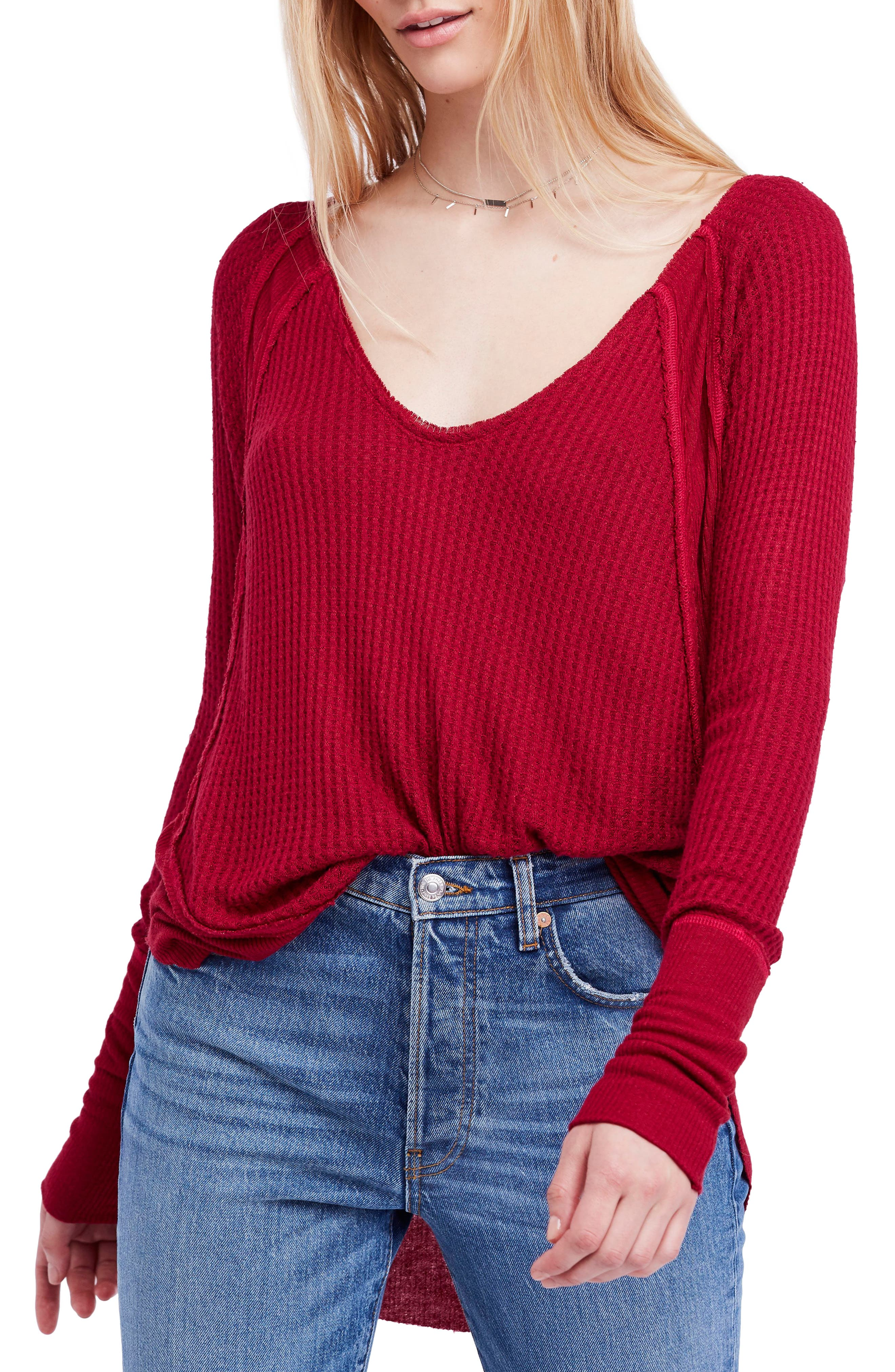 04c572fed0c06 We the free people catalina neck thermal top jpg 480x730 Red top