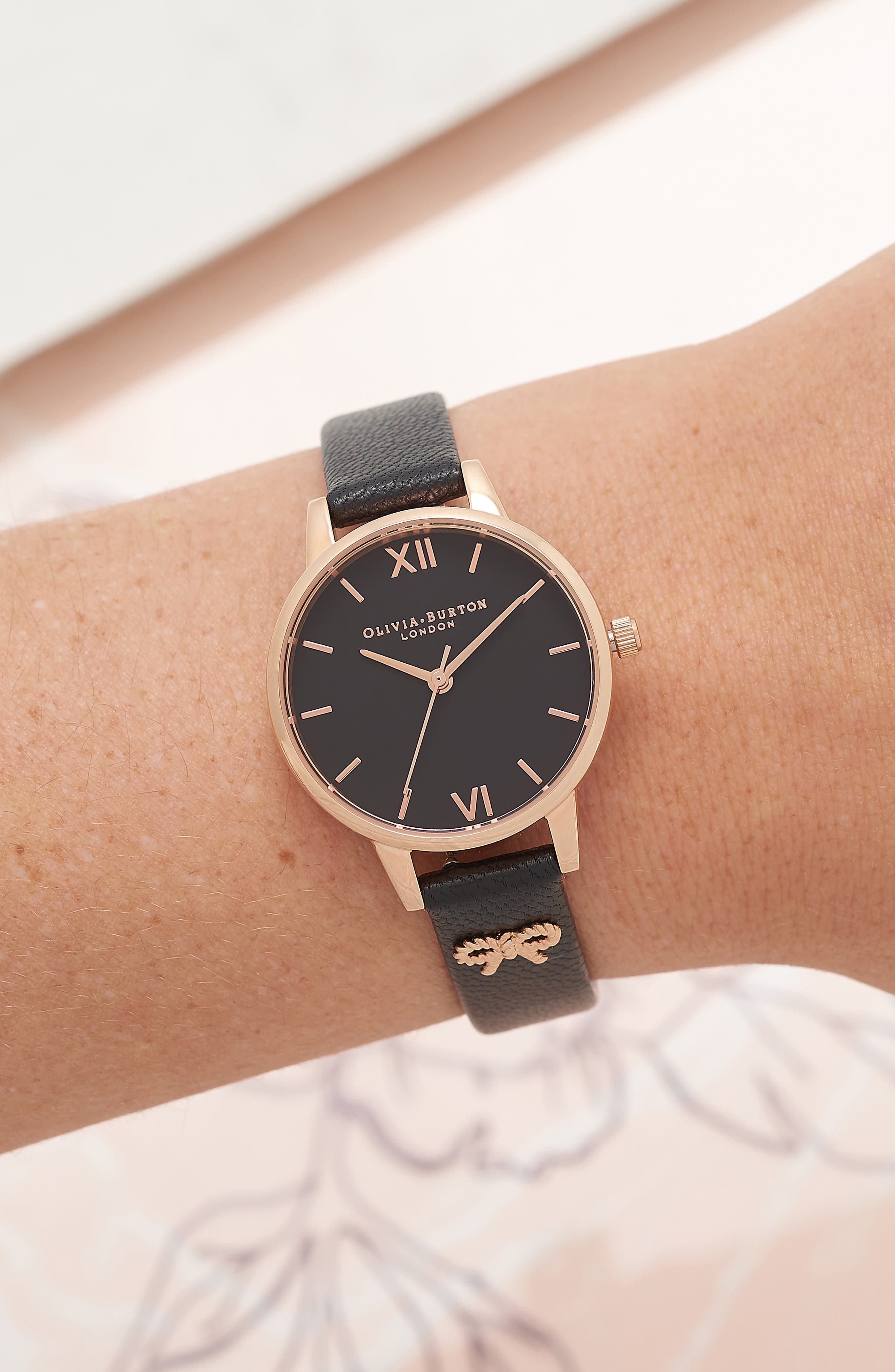 Vintage Bow Leather Strap Watch, 30mm,                             Alternate thumbnail 6, color,                             Black/ Rose Gold