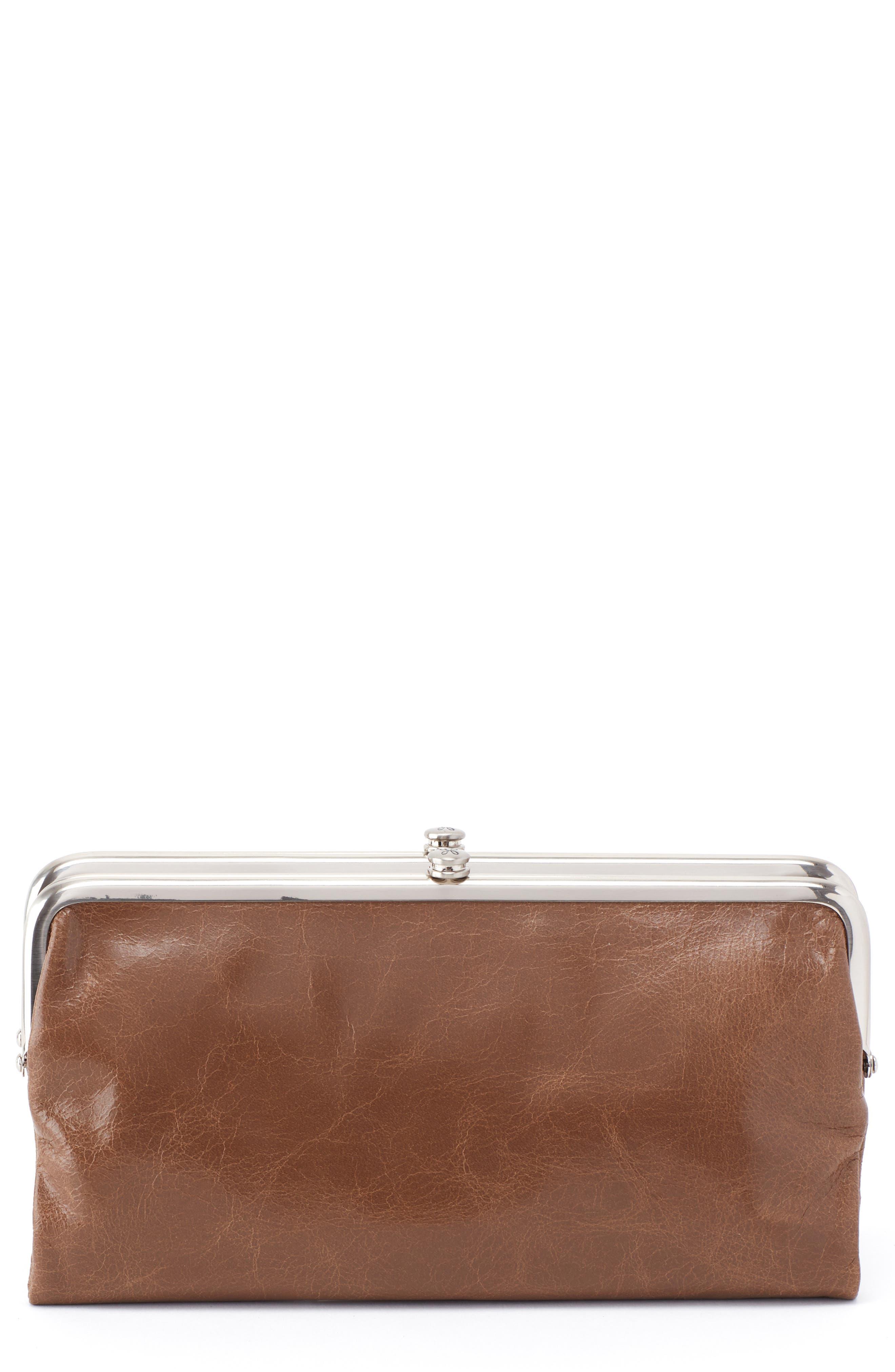 'Lauren' Leather Double Frame Clutch,                         Main,                         color, Mink