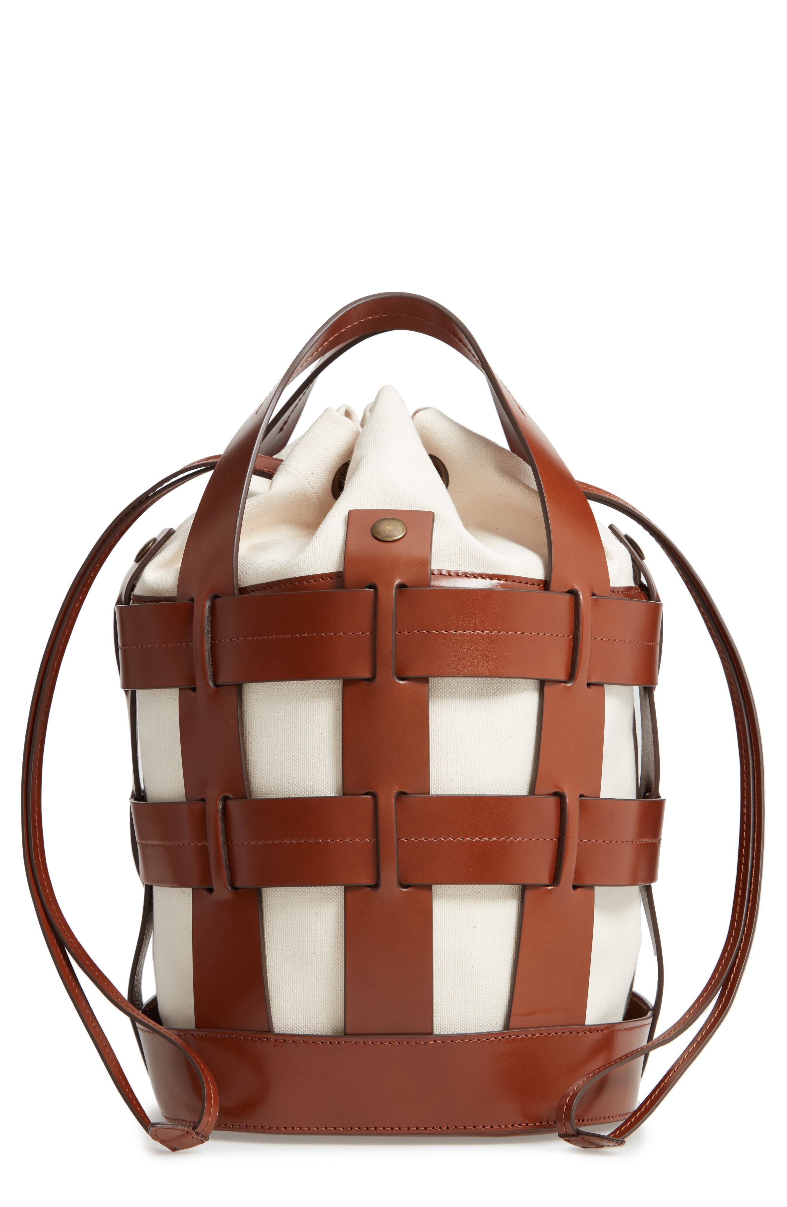 COOPER CAGE LEATHER & CANVAS TOTE - BROWN