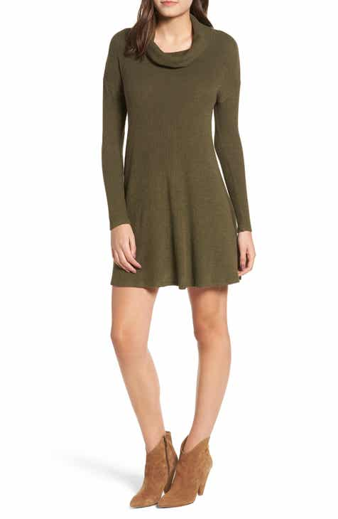 Rib Knit Cowl Neck Dress Regular Plus Size