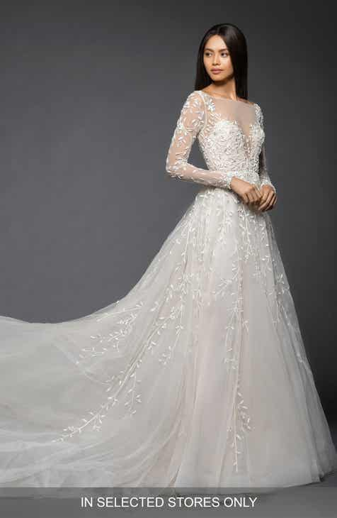 Lazaro Isabel Long Sleeve Beaded Tulle Chiffon Gown