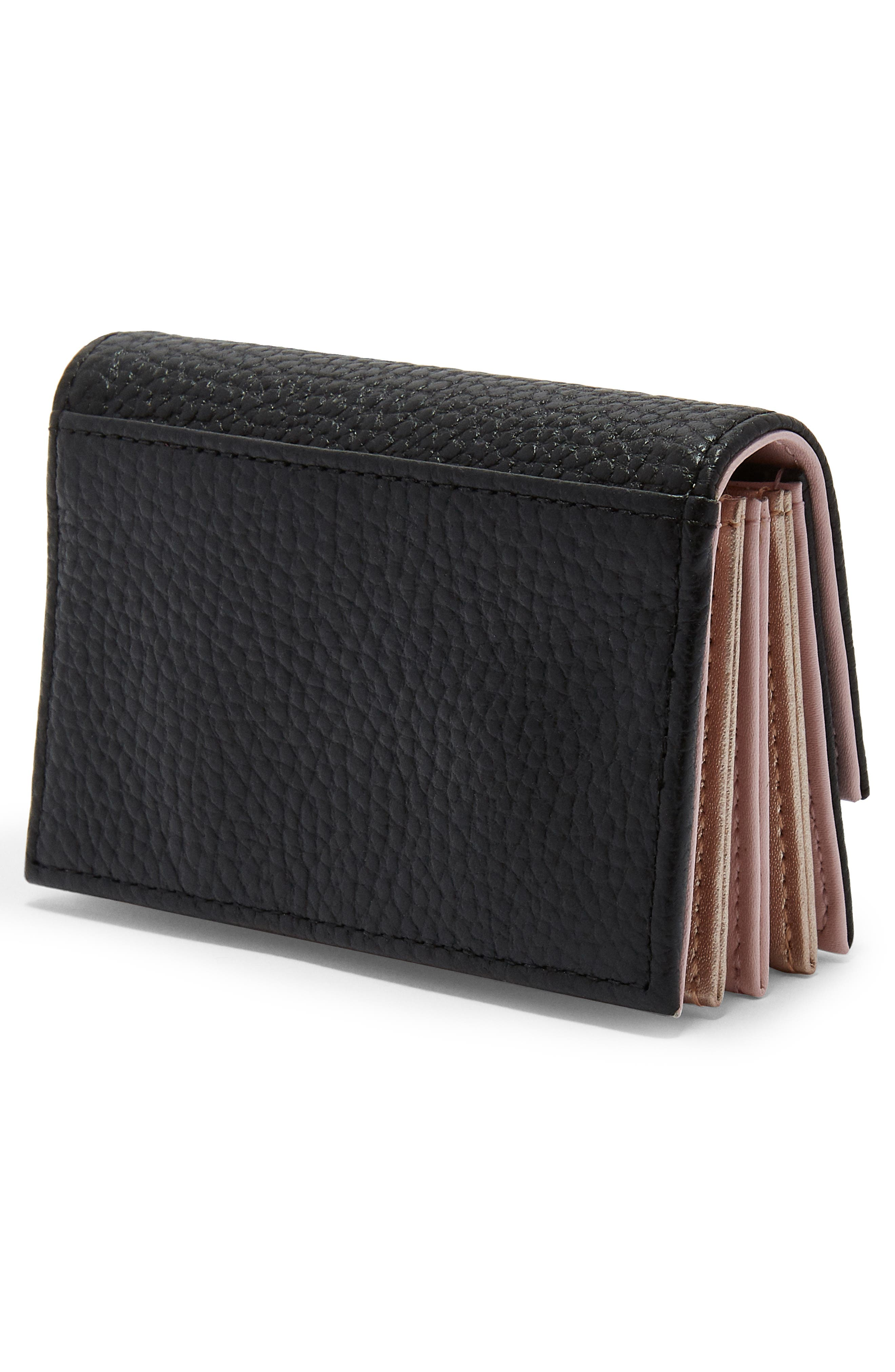 Eves Accordion Leather Card Case,                             Alternate thumbnail 3, color,                             Black