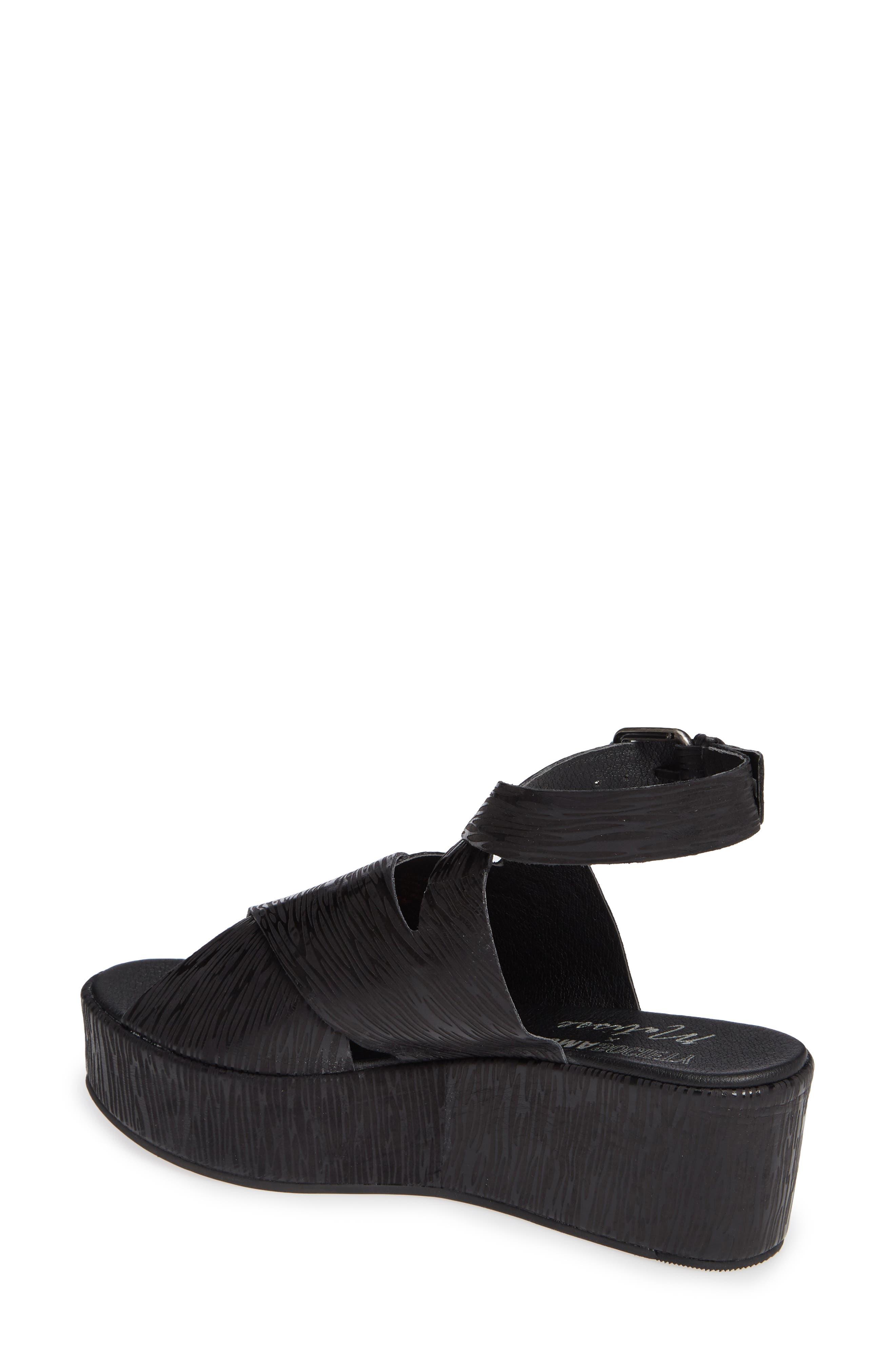 Runway Wedge Sandal,                             Alternate thumbnail 2, color,                             Black Lizard Print Leather