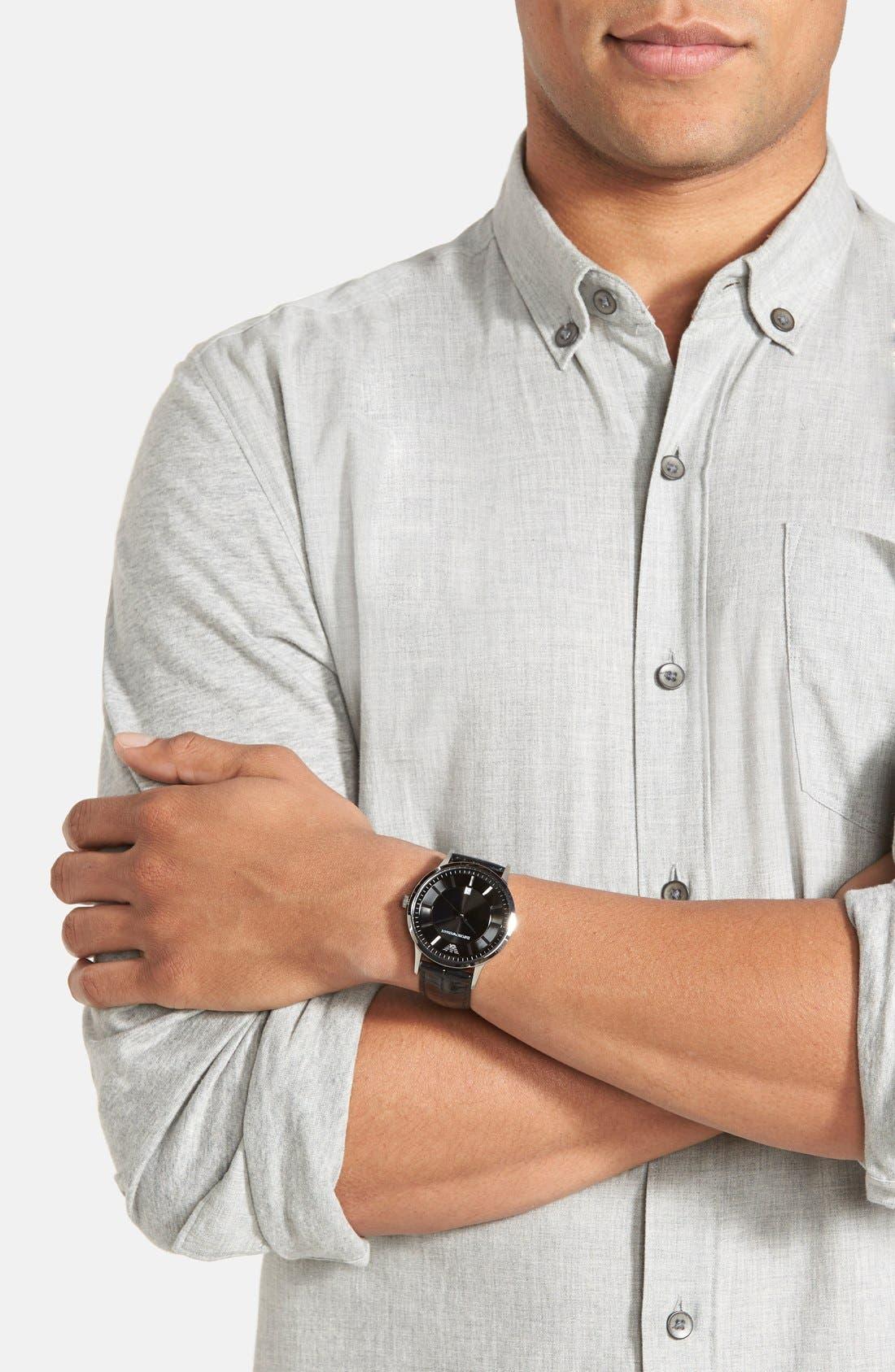 Alternate Image 3  - Emporio Armani Slim Leather Strap Watch, 43mm