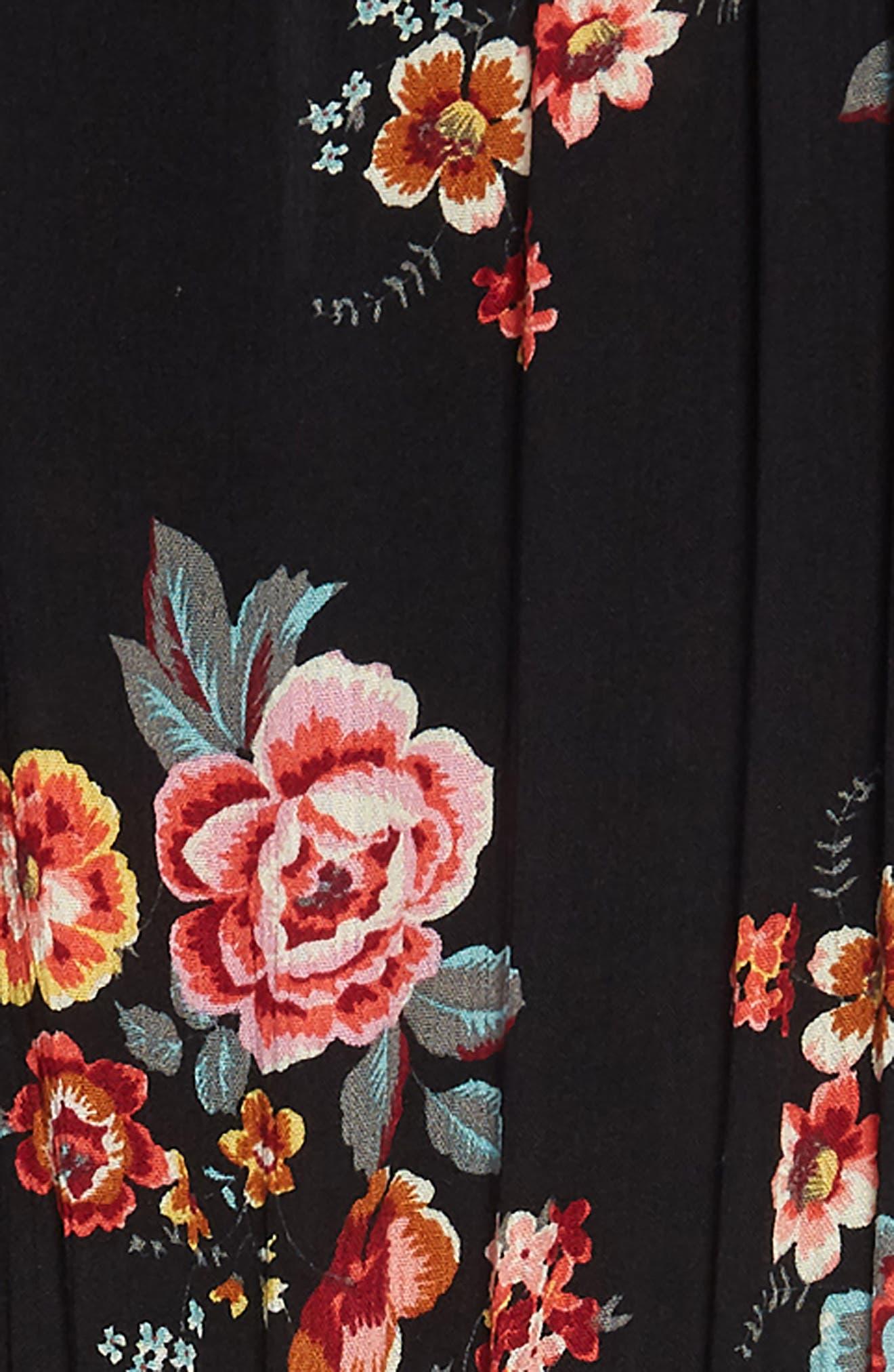Floral Print Maxi Romper,                             Alternate thumbnail 3, color,                             Black Floral
