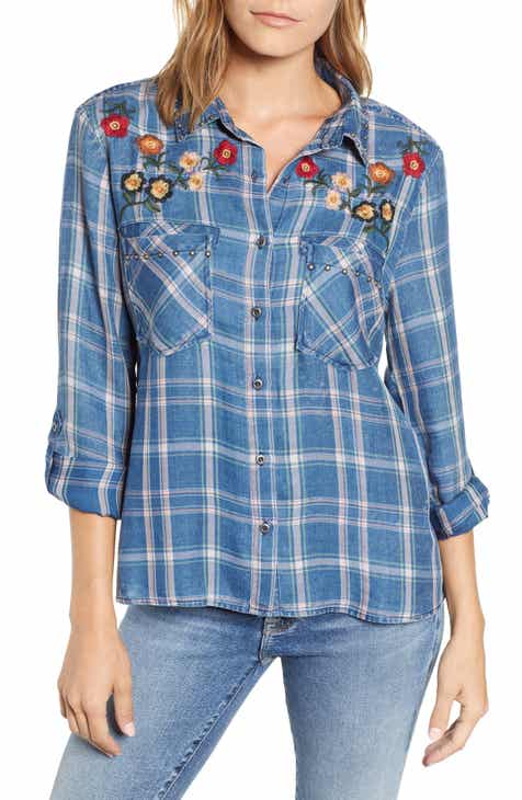 8b864c61505 Billy T Embroidered Plaid Roll Tab Shirt