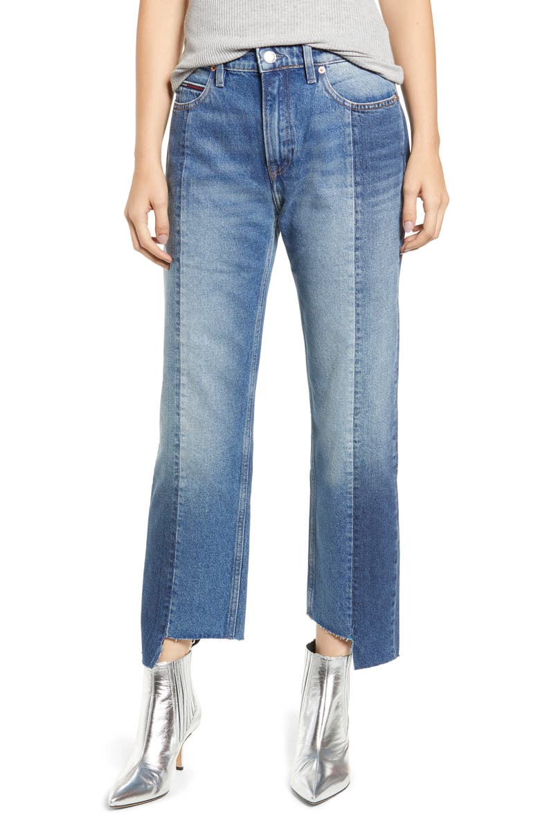 High Rise Step Hem Two Tone Nonstretch Jeans