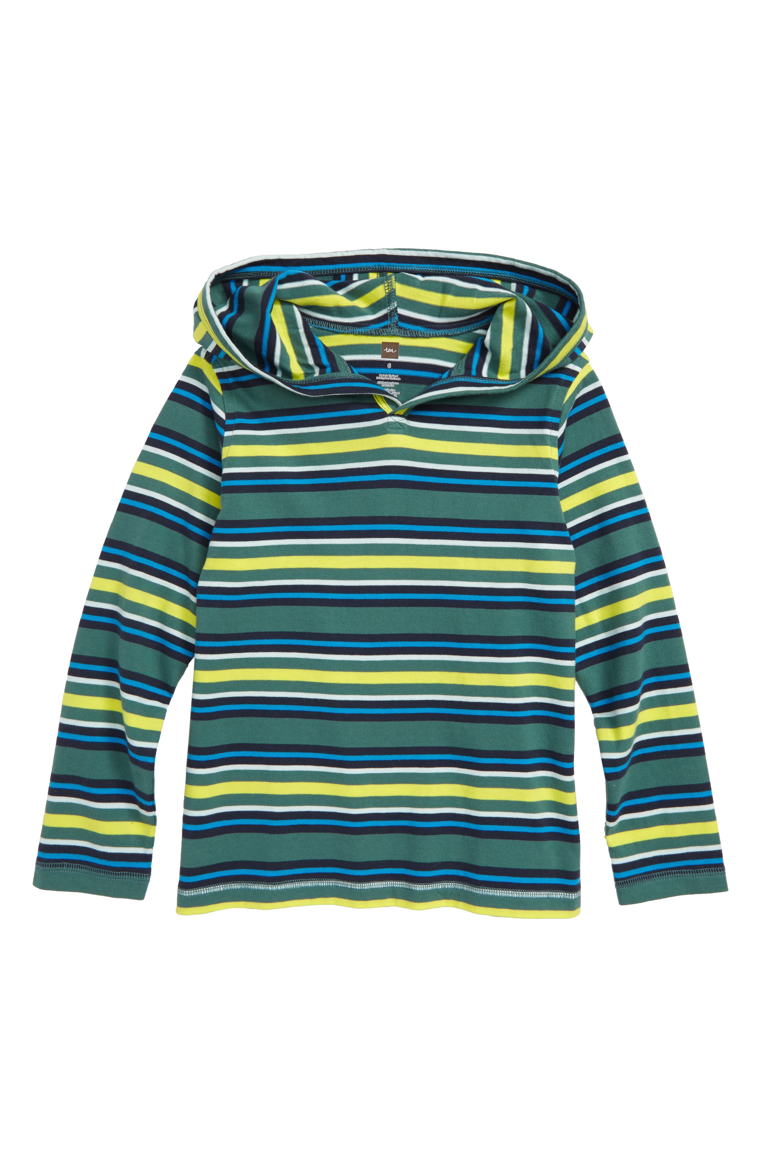 Happy Stripe Hoodie,                         Main,                         color, Foliage
