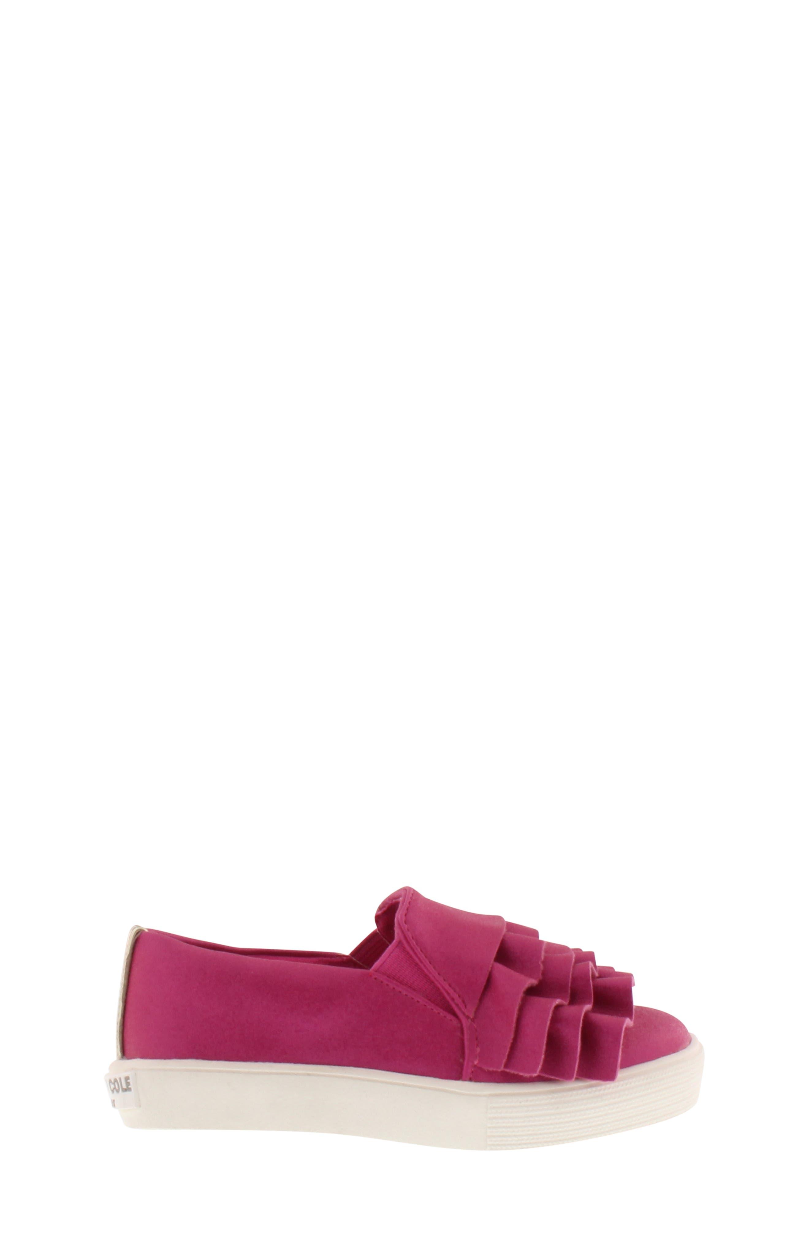 Shimmery Kam Ruffle Slip-On Sneaker,                             Alternate thumbnail 3, color,                             Fuchsia