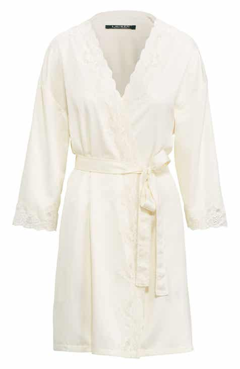 Lauren Ralph Lauren Lace Trim Satin Robe by LAUREN RALPH LAUREN