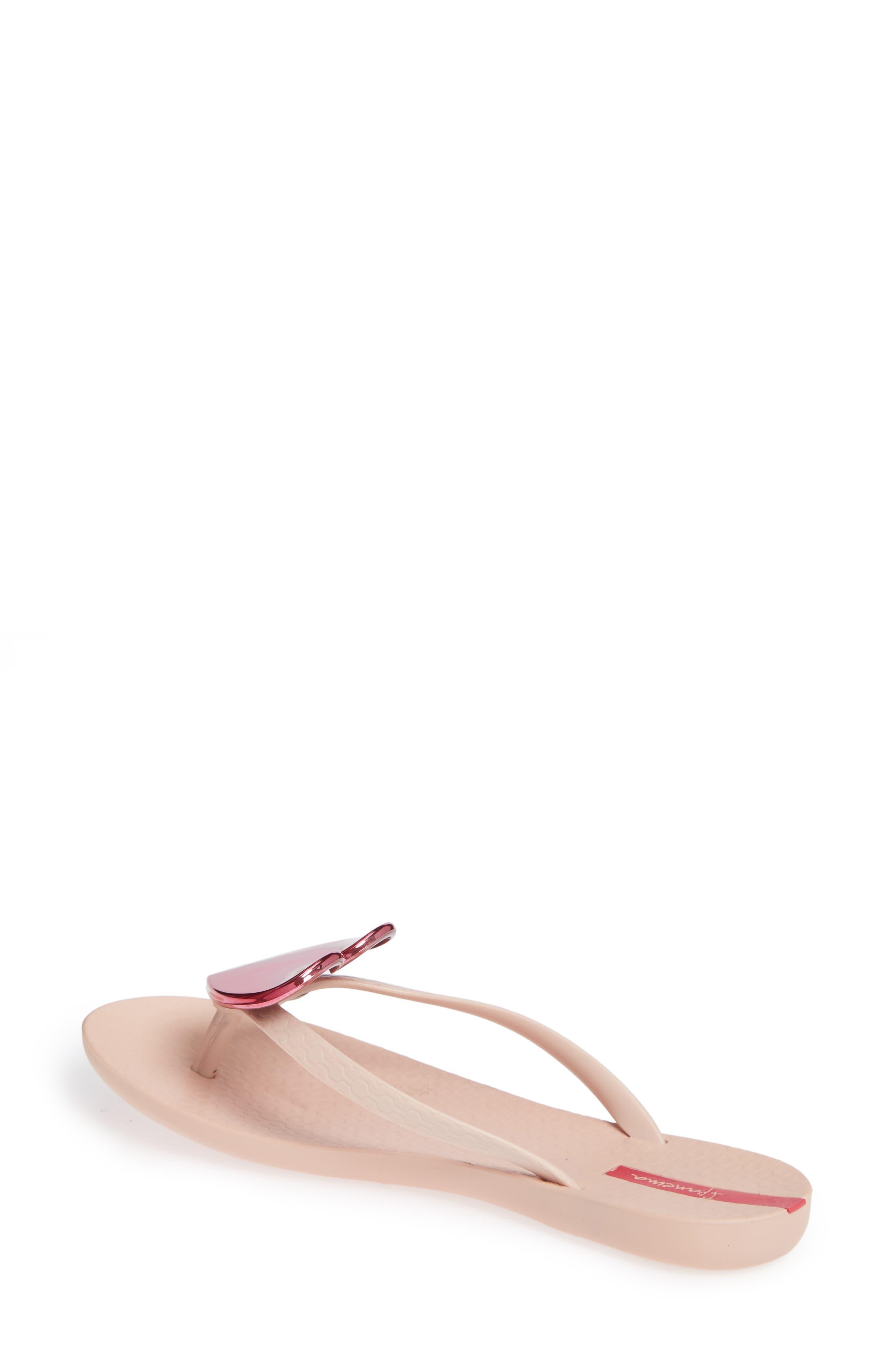Wave Heart Flip Flop,                             Alternate thumbnail 2, color,                             Pink/ Pink