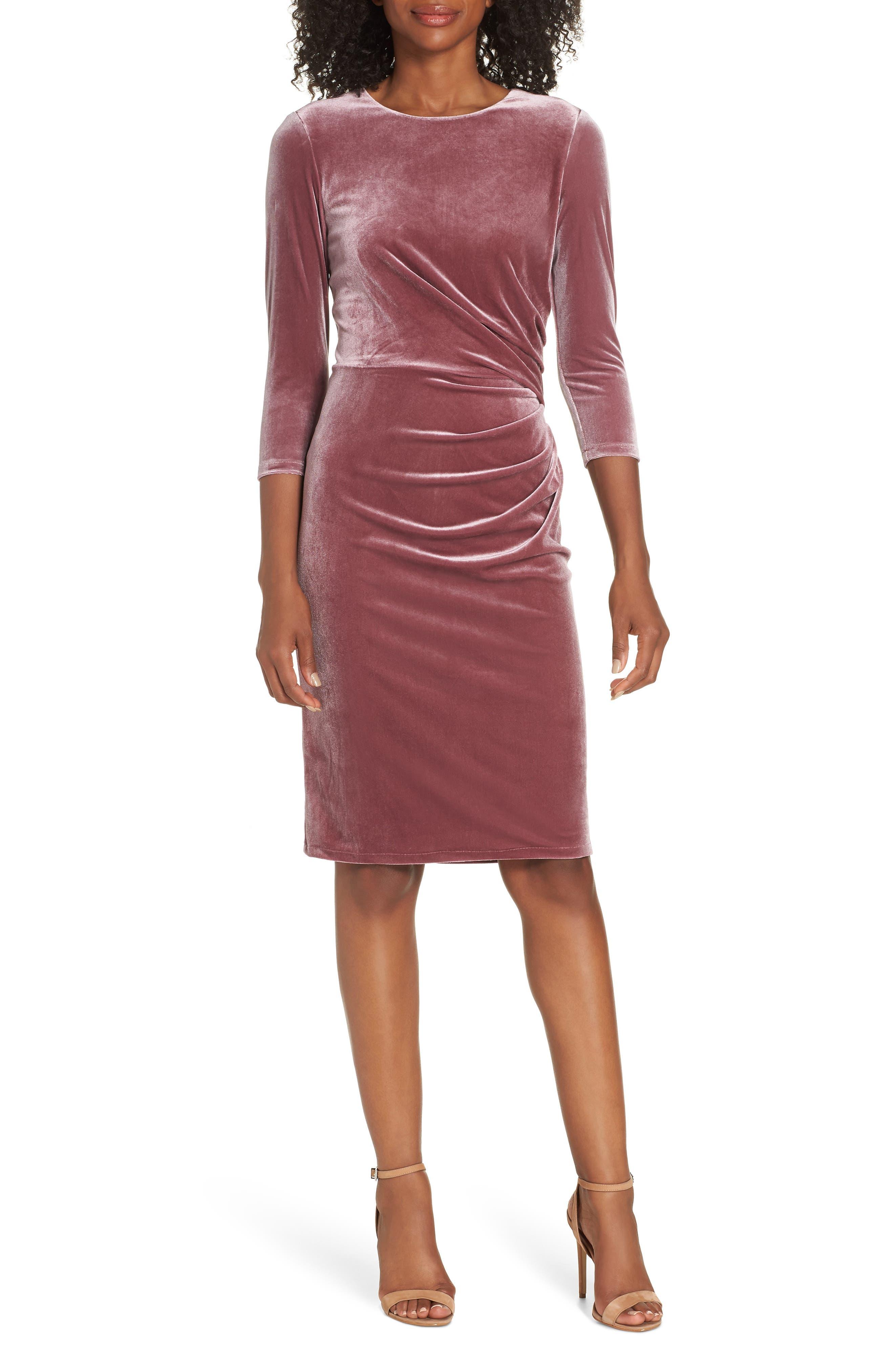 Velvet Sheath Dress,                             Main thumbnail 1, color,                             Rose