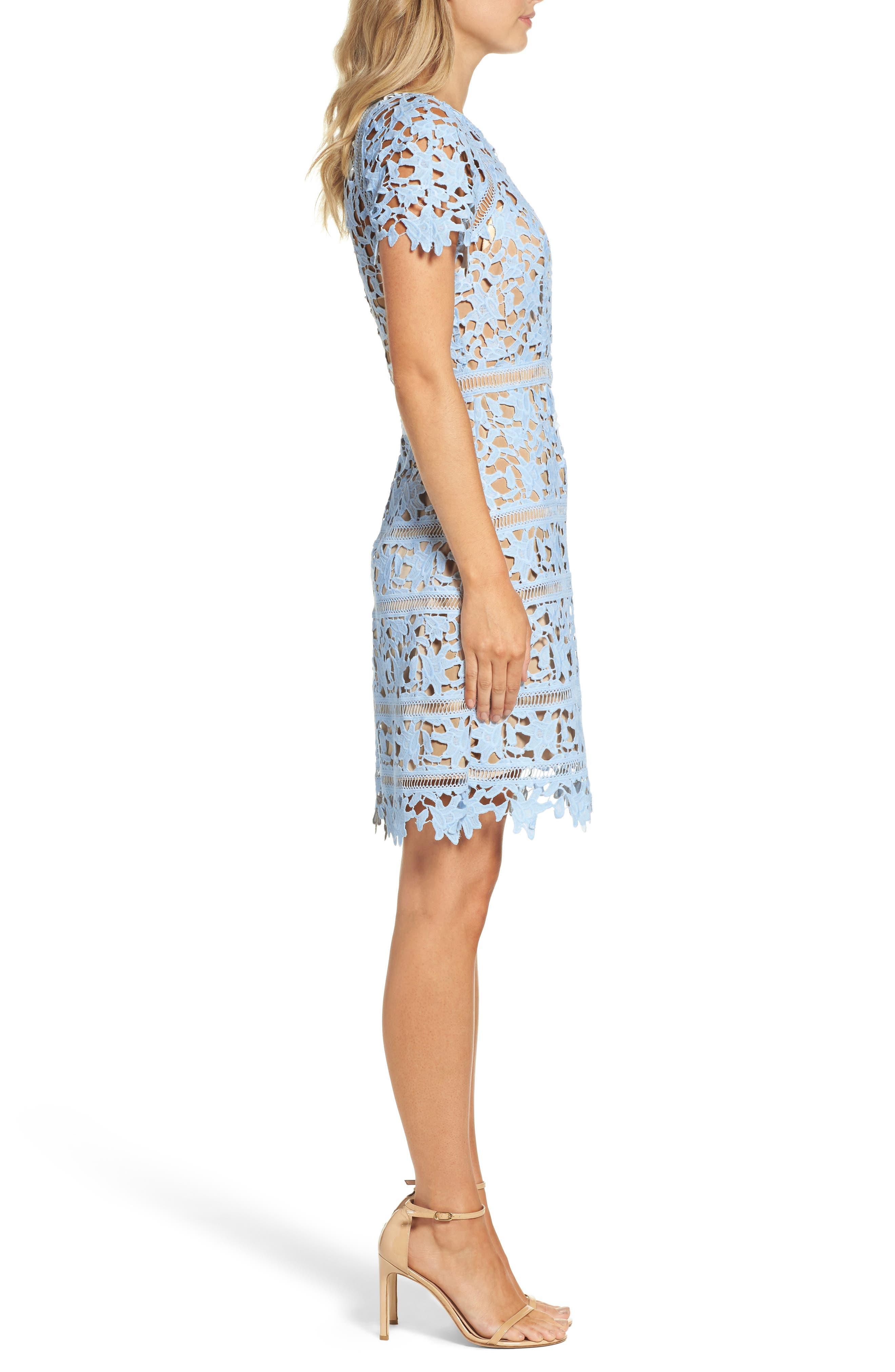 Crochet Overlay Dress,                             Alternate thumbnail 6, color,                             Blue