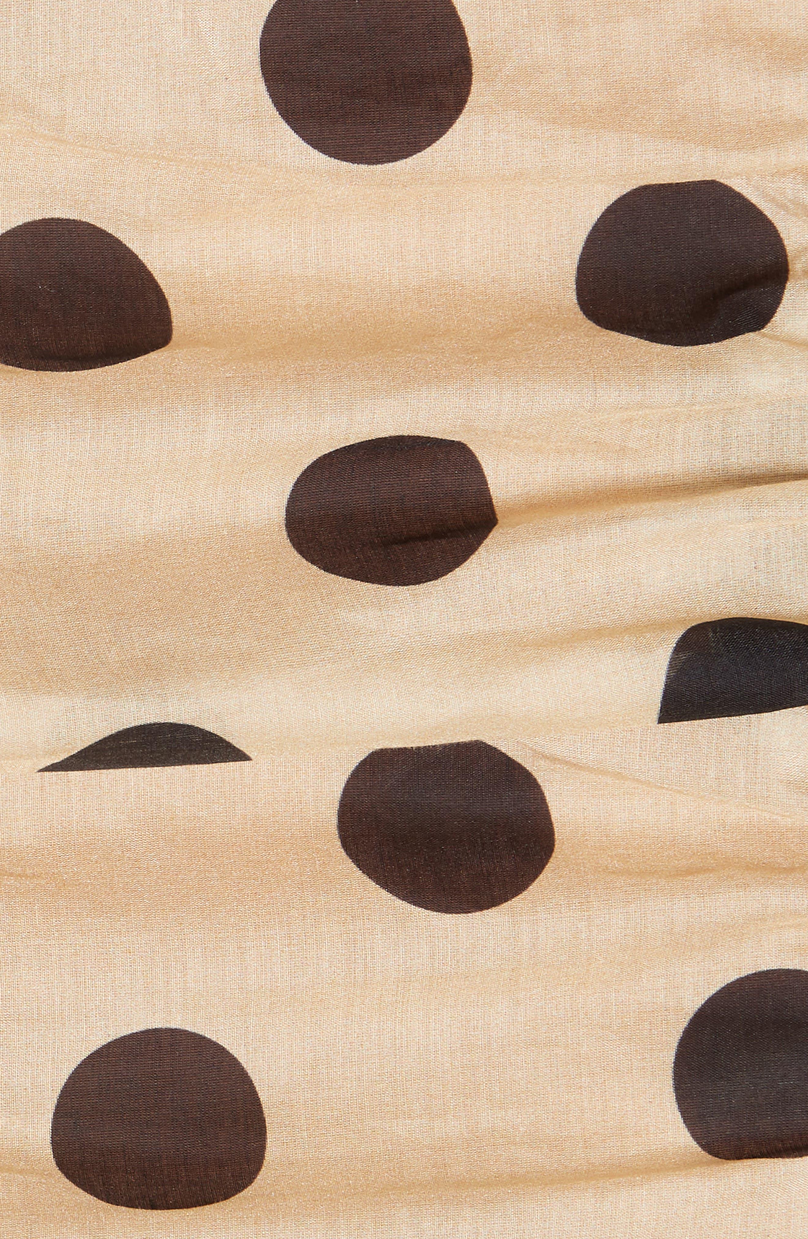 Minnie Polka Dot Cotton & Silk Cold Shoulder Top,                             Alternate thumbnail 5, color,                             Barley