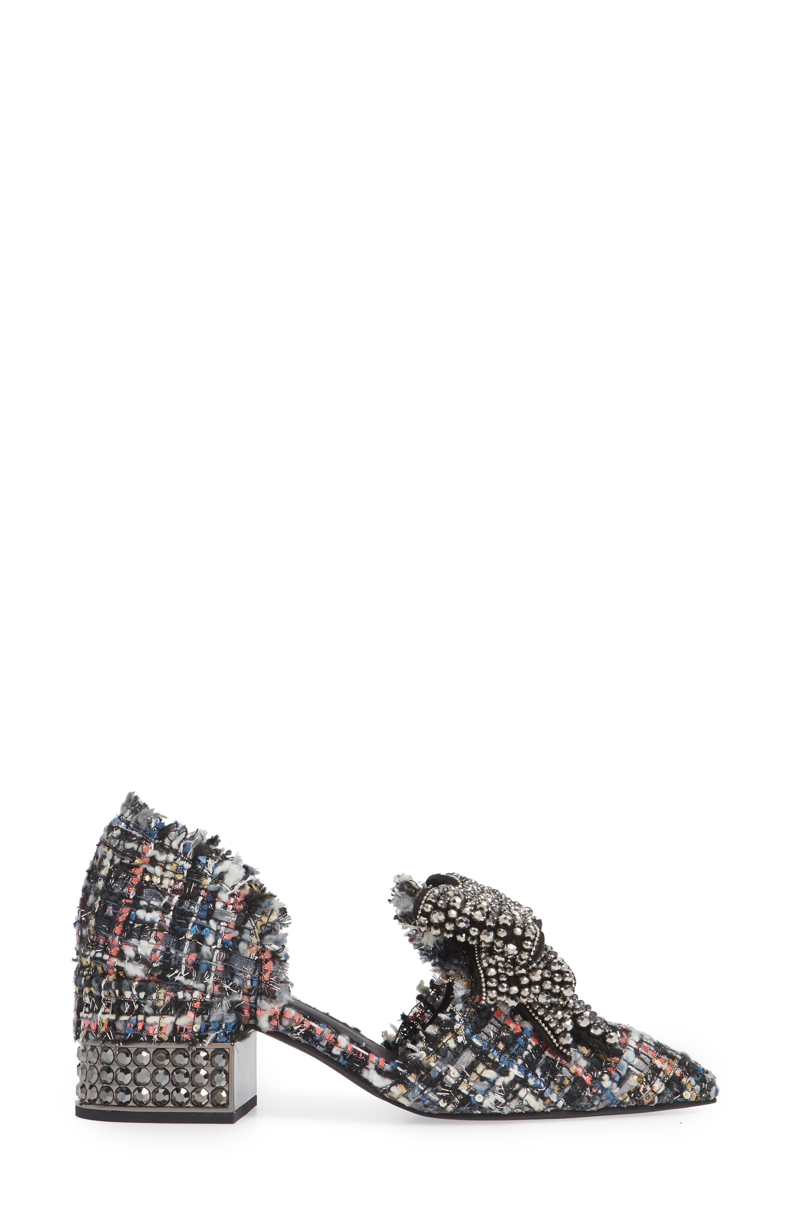 Valenti Embellished Bow Loafer,                             Alternate thumbnail 3, color,                             Black Multi Tweed Pewter