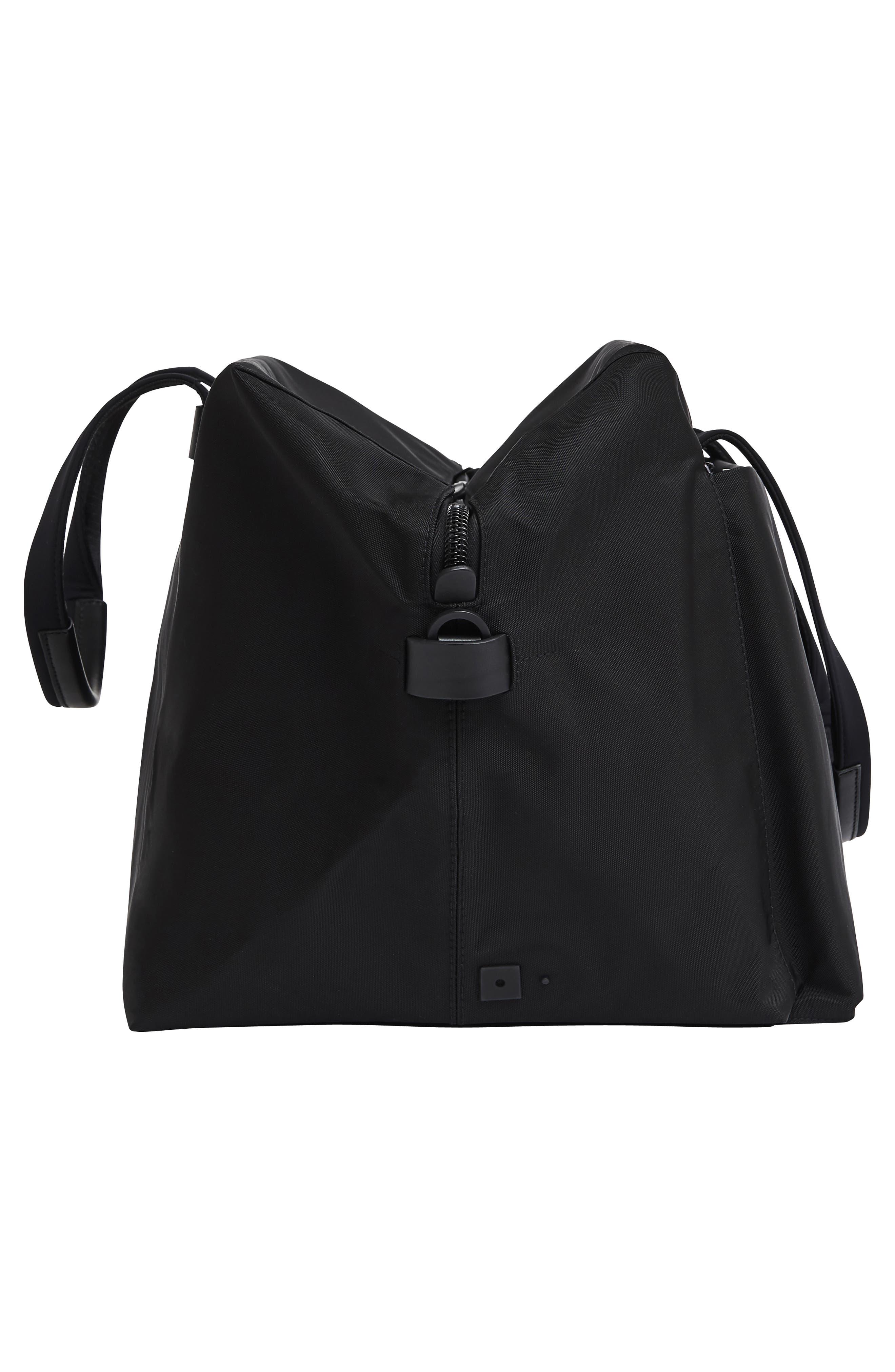 Lightweight Duffel Bag,                             Alternate thumbnail 3, color,                             Black Nylon/ Black Leather