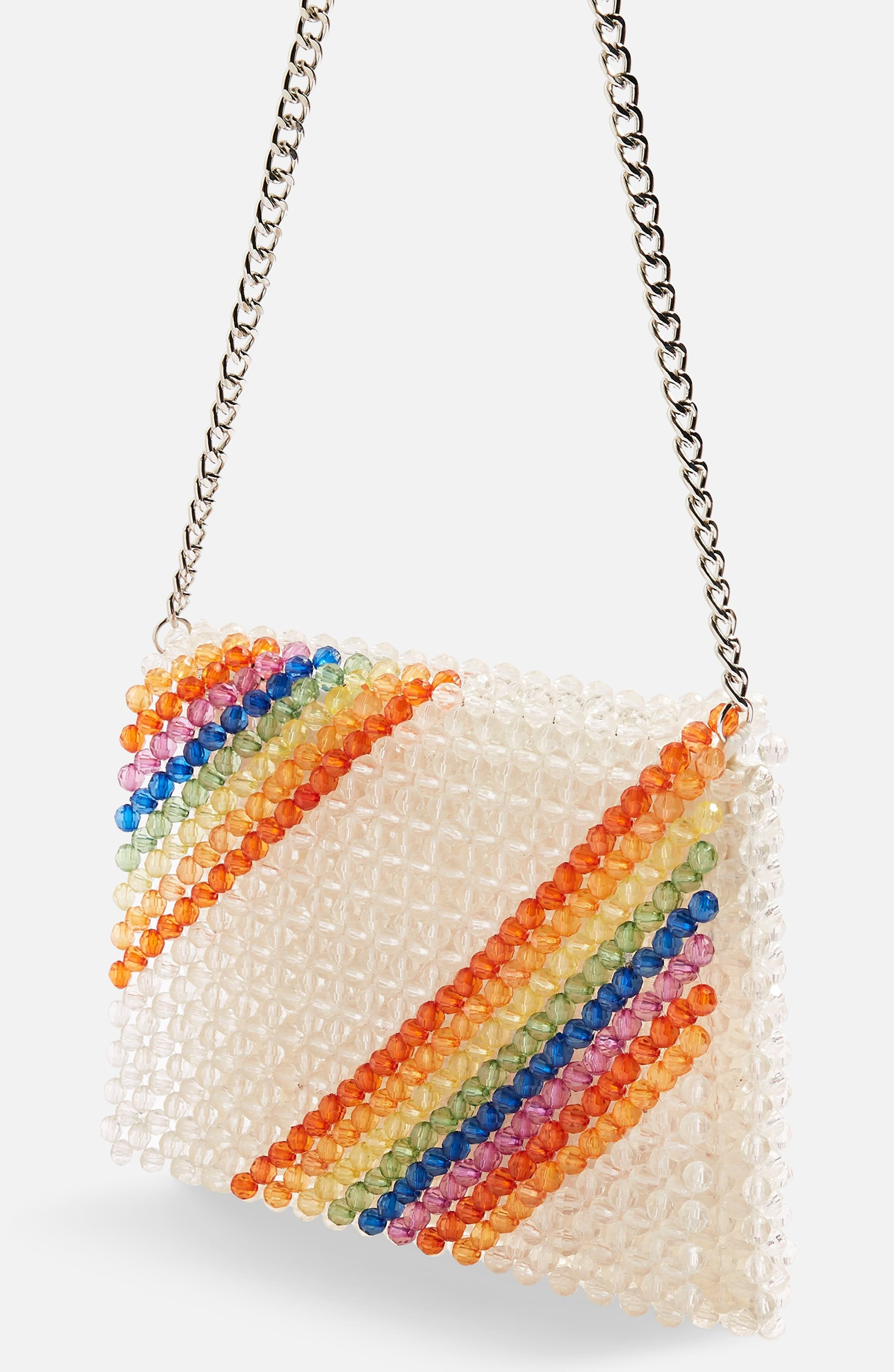 Zizi Beaded Rainbow Shoulder Bag,                             Alternate thumbnail 3, color,                             Clear Multi
