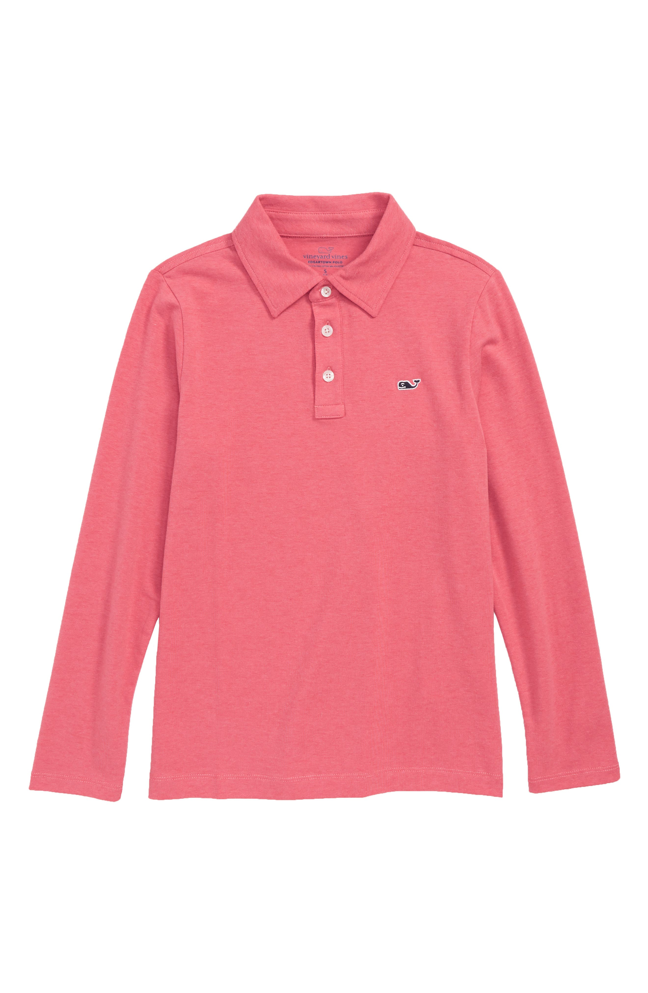 Edgartown Long Sleeve Polo,                         Main,                         color, Sailors Red