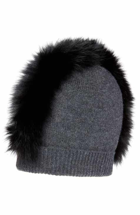 4b00706ca5d Charlotte Simone Mo Mohawk Cashmere Beanie with Genuine Fox Fur Trim