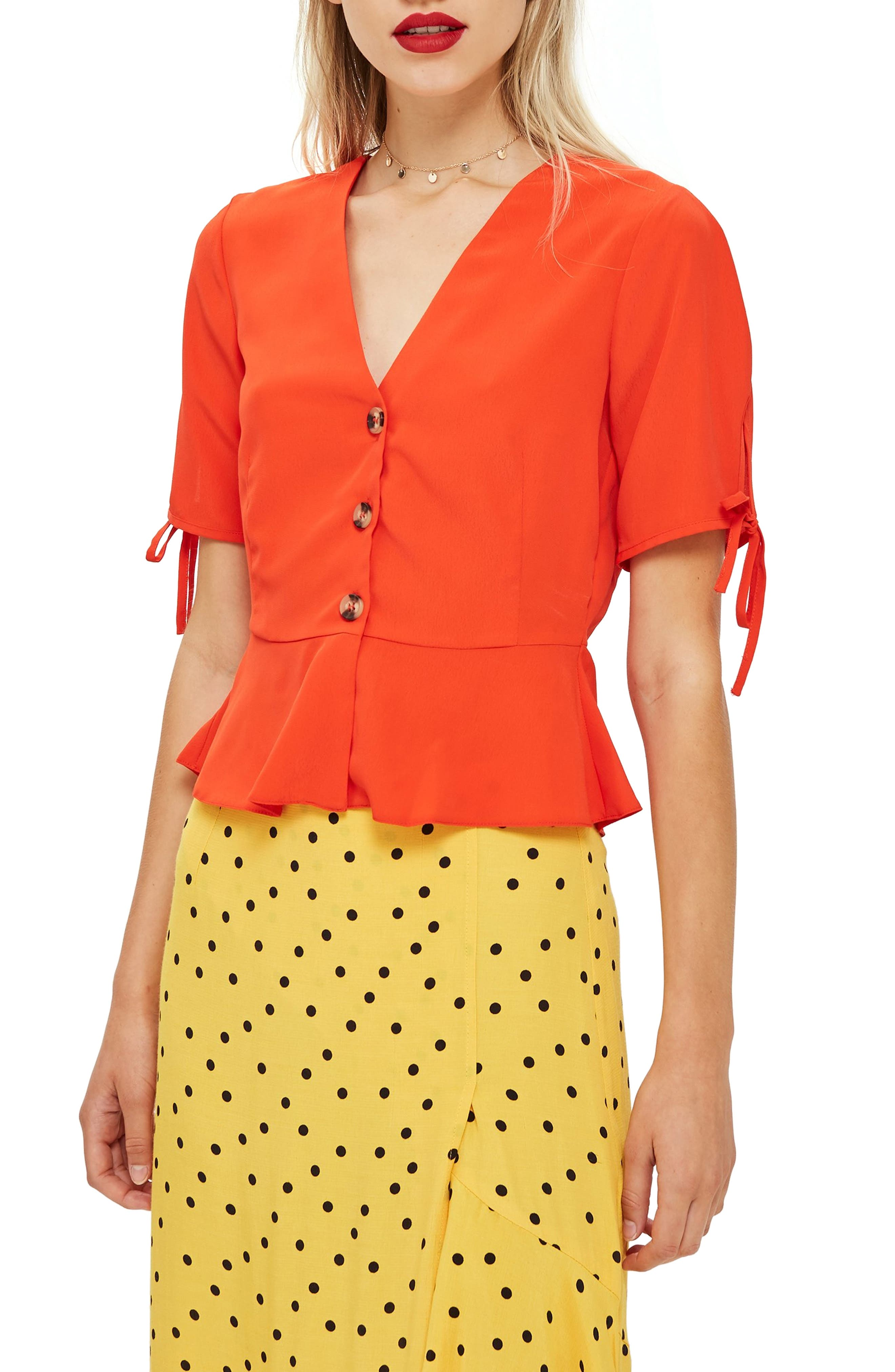 Bryony Tea Button Front Blouse,                             Main thumbnail 1, color,                             Red
