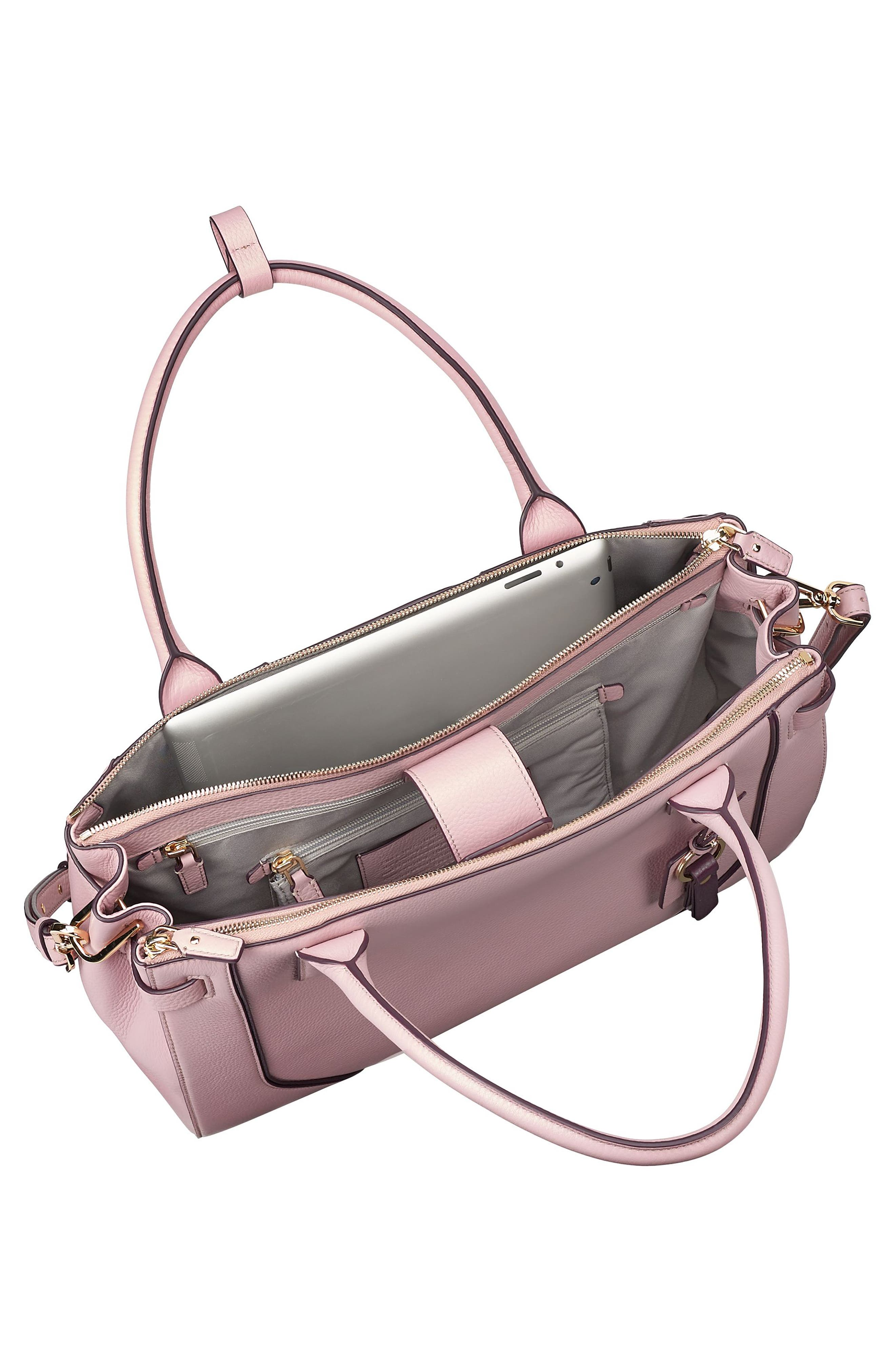 Stanton Kiran Leather Laptop Briefcase,                             Alternate thumbnail 3, color,                             Pink