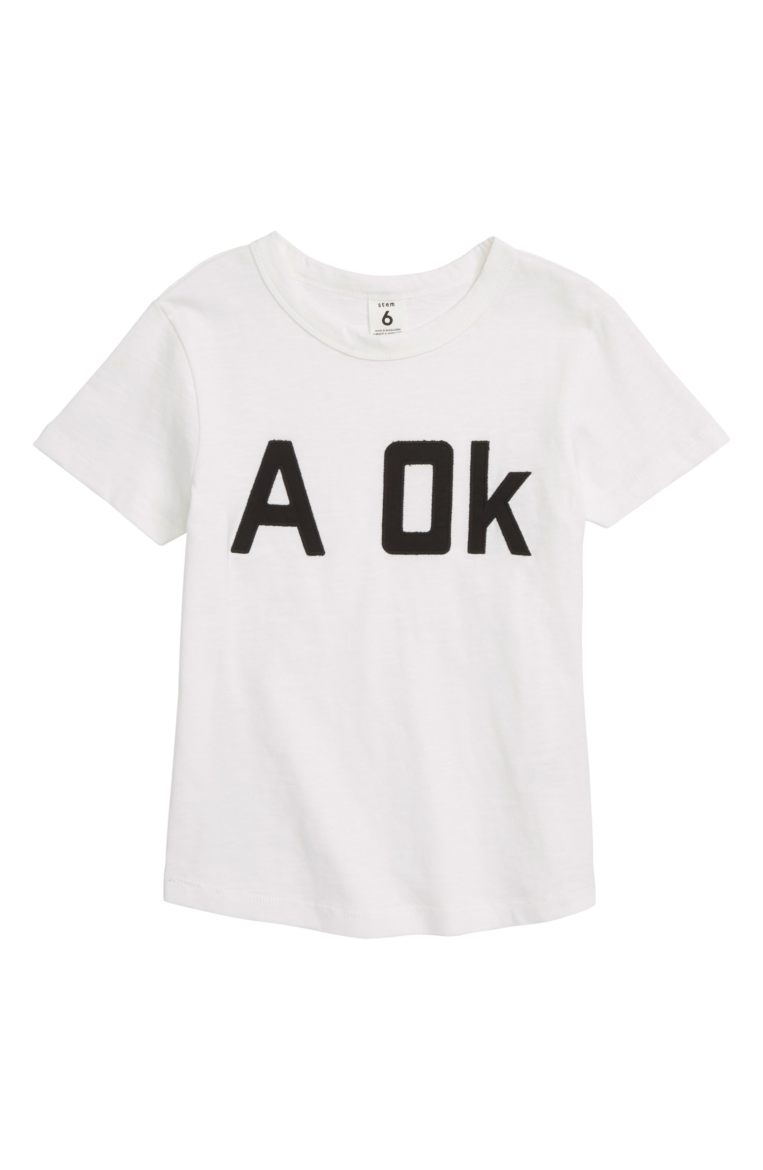 Free Space Appliqué T-Shirt,                         Main,                         color, White A Ok