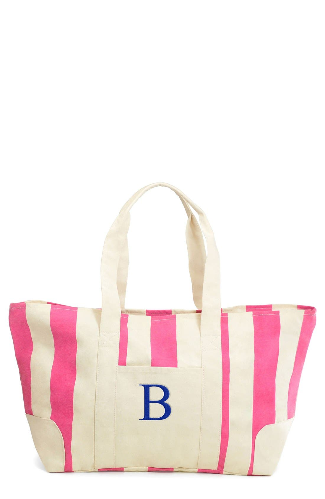 Monogram Stripe Canvas Tote,                             Main thumbnail 1, color,                             Pink - B