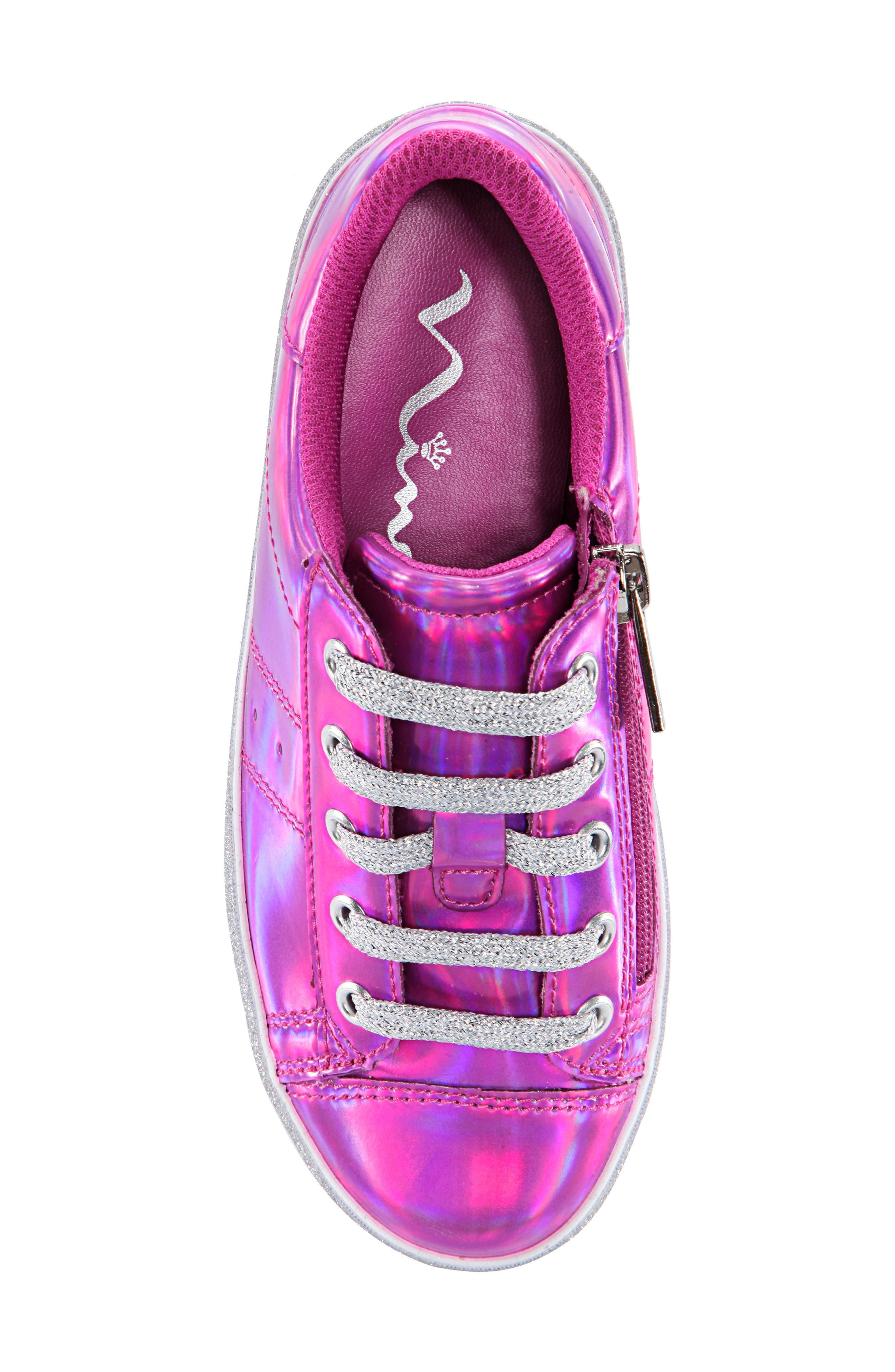 Jovana Glitter Low-Top Sneaker,                             Alternate thumbnail 4, color,                             Pink Patent