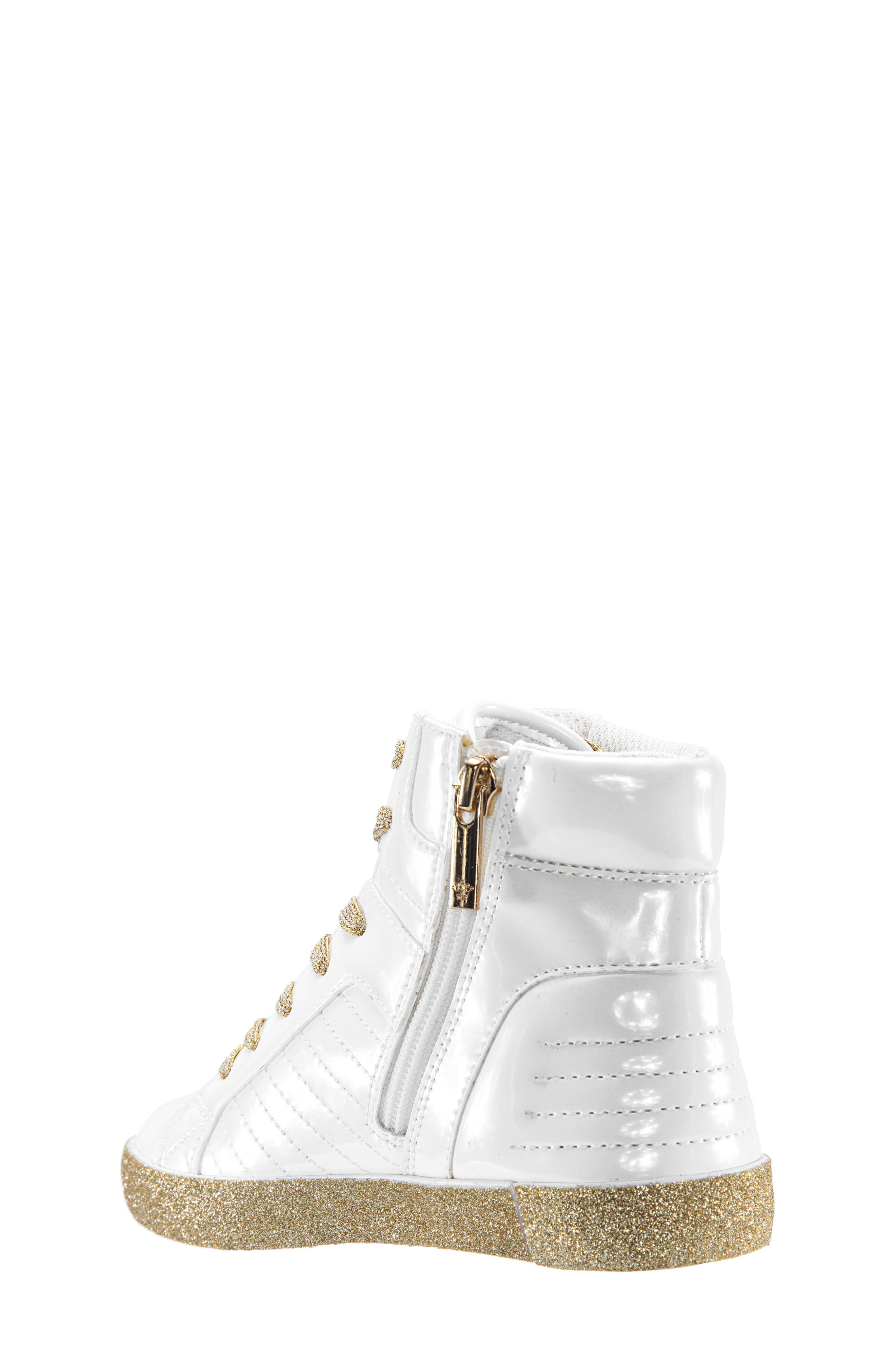 Jesy Glitter High Top Sneaker,                             Alternate thumbnail 2, color,                             White Pearlized Patent