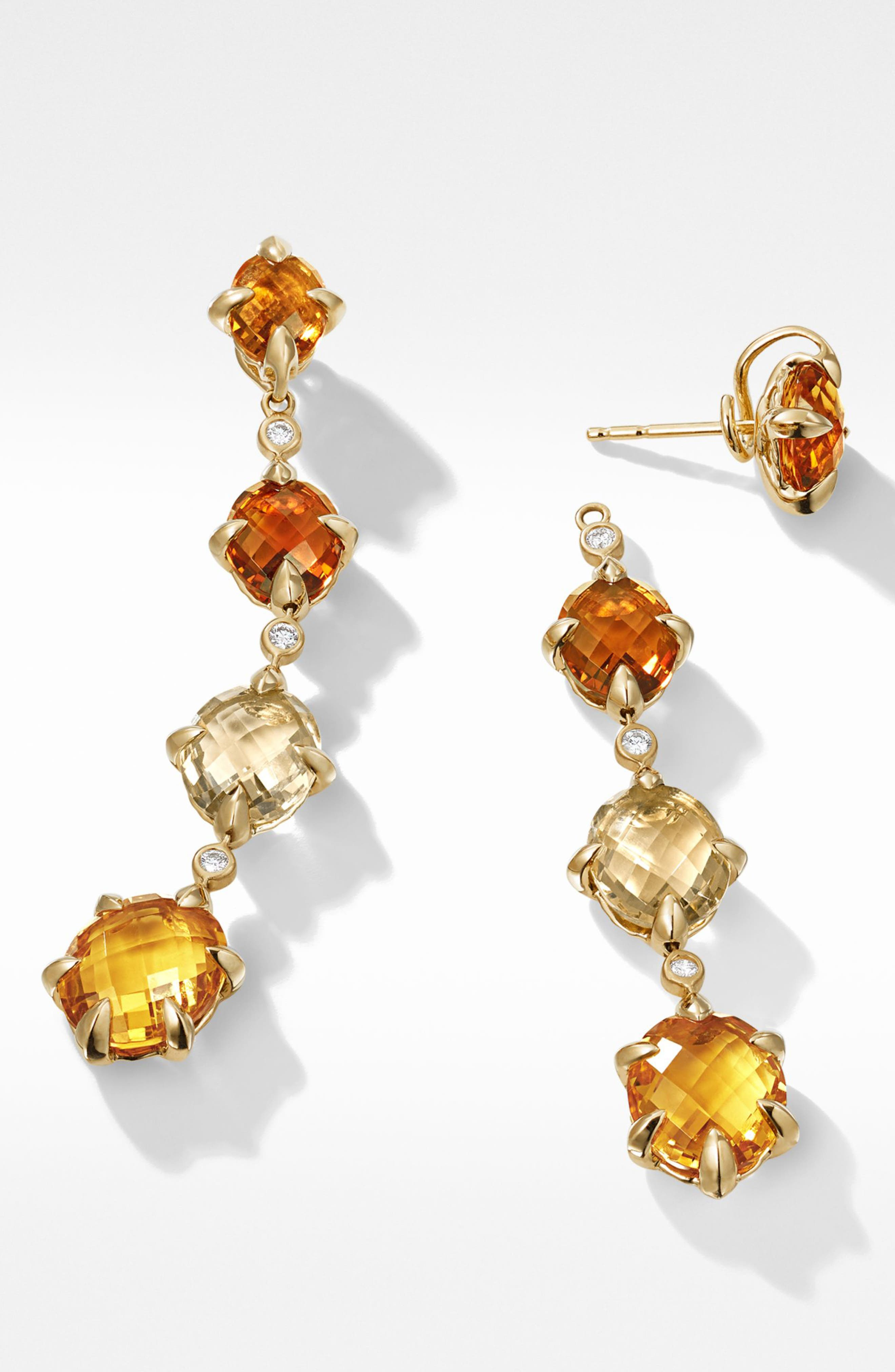 Chatelaine<sup>®</sup> 18k Gold Drop Earrings with Diamonds,                             Alternate thumbnail 2, color,                             Gold/ Diamond/ Citrine